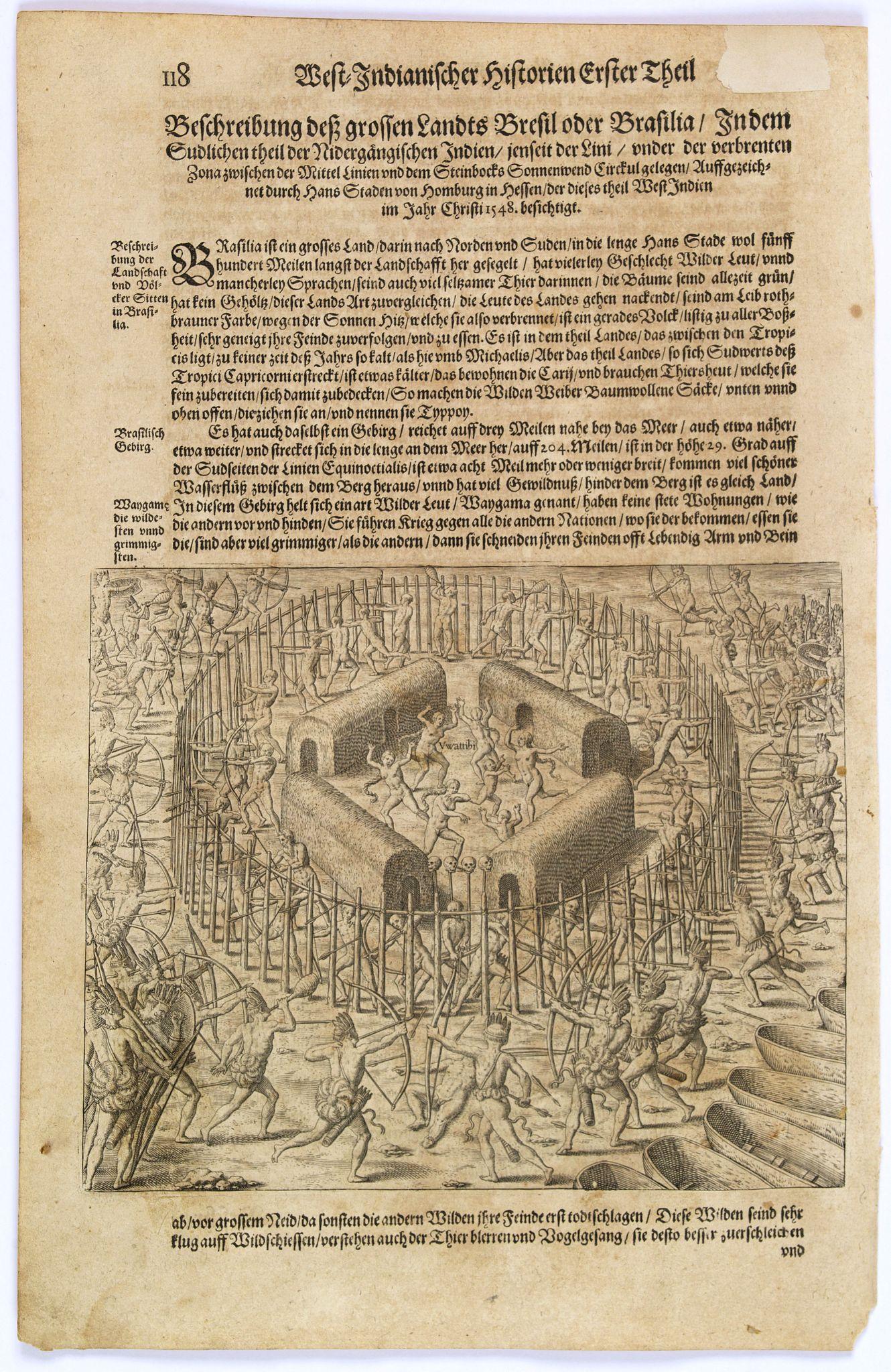 GOTTFRIED, J.L. / DE BRY. -  [Staden forecasts an Indian attack.]