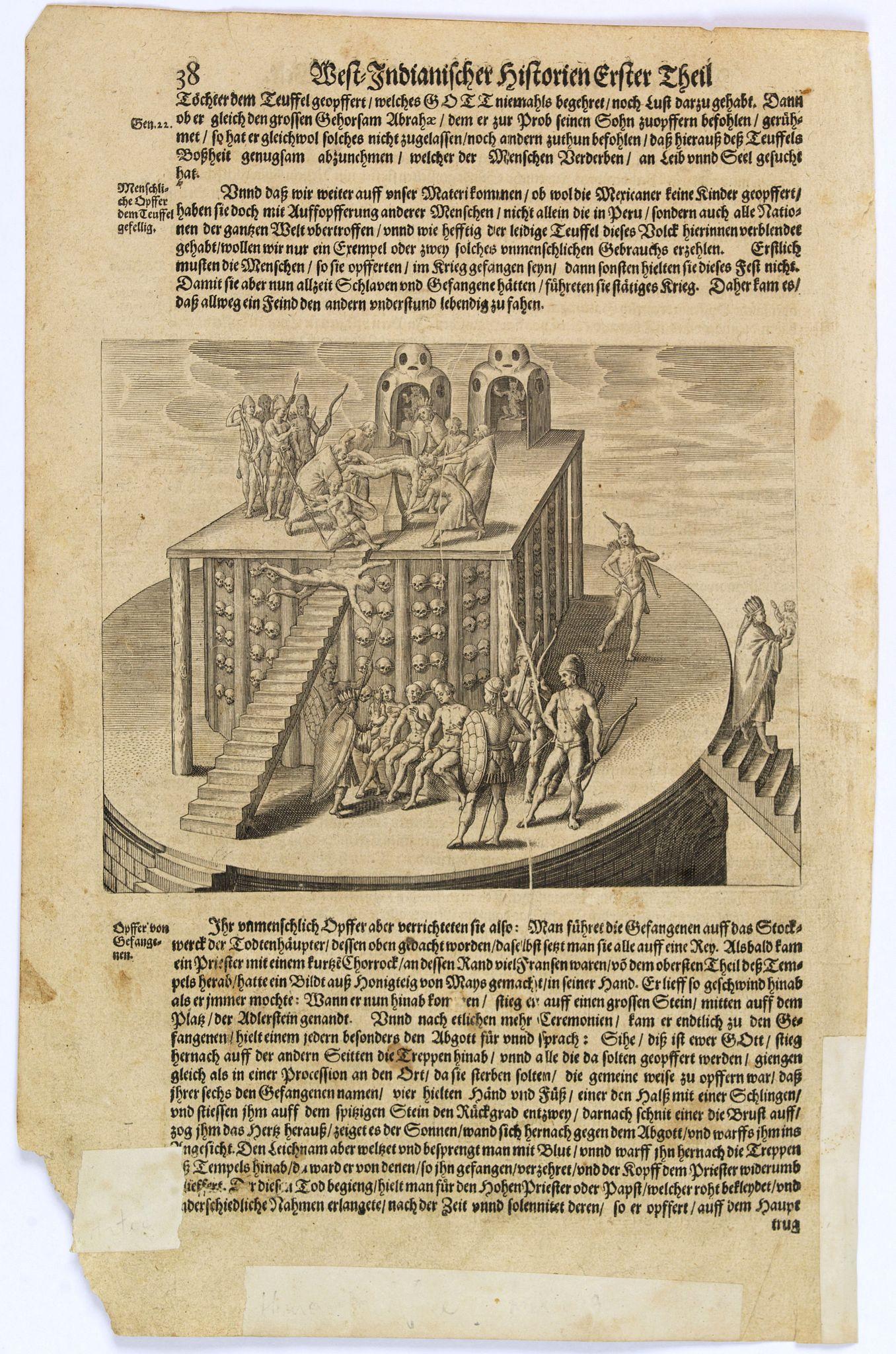 GOTTFRIED, J.L. / DE BRY. -  [Human sacrifice. Aztec.]
