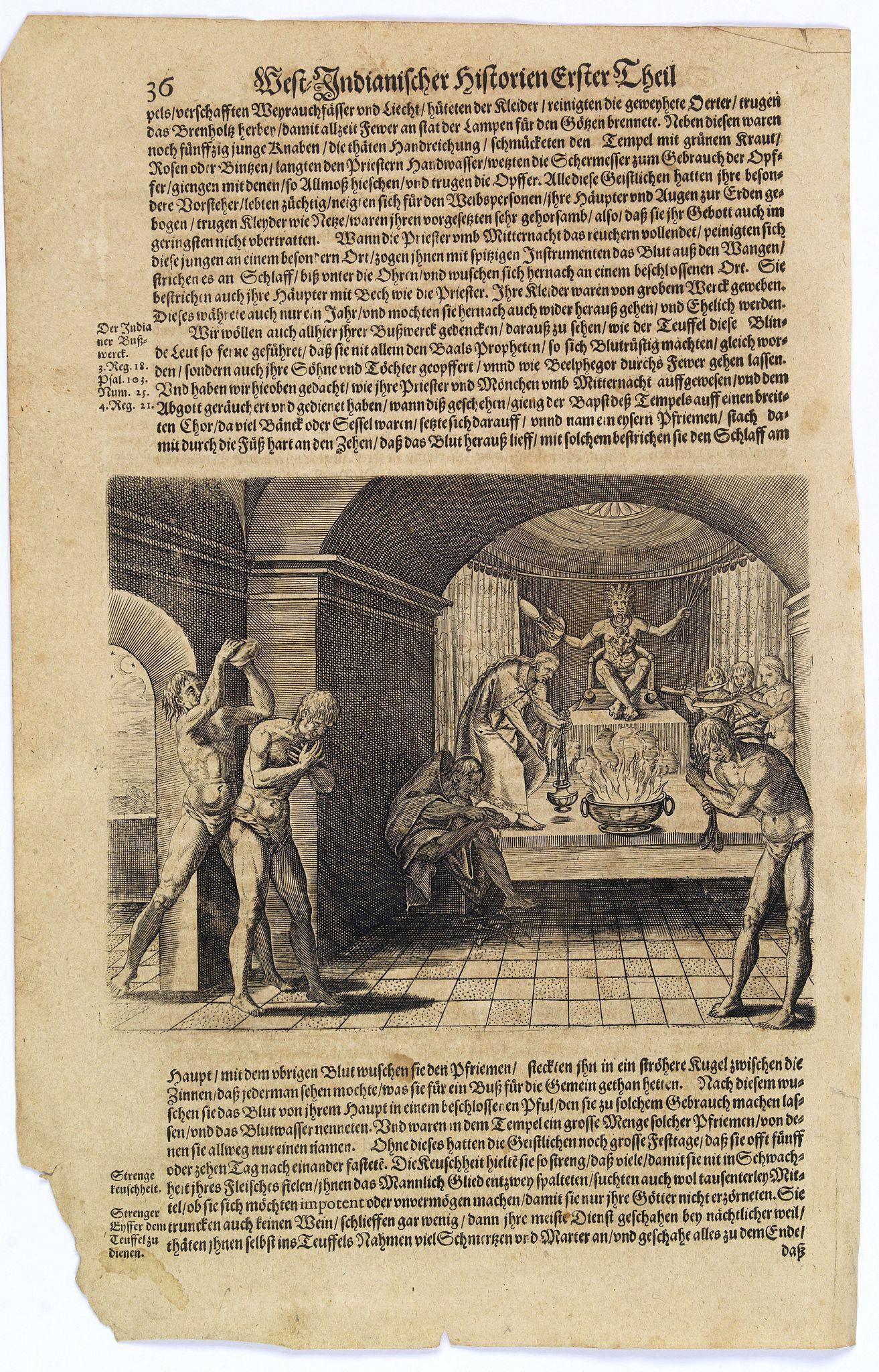 GOTTFRIED, J.L. / DE BRY. -  [Aztec priests do pennance.]