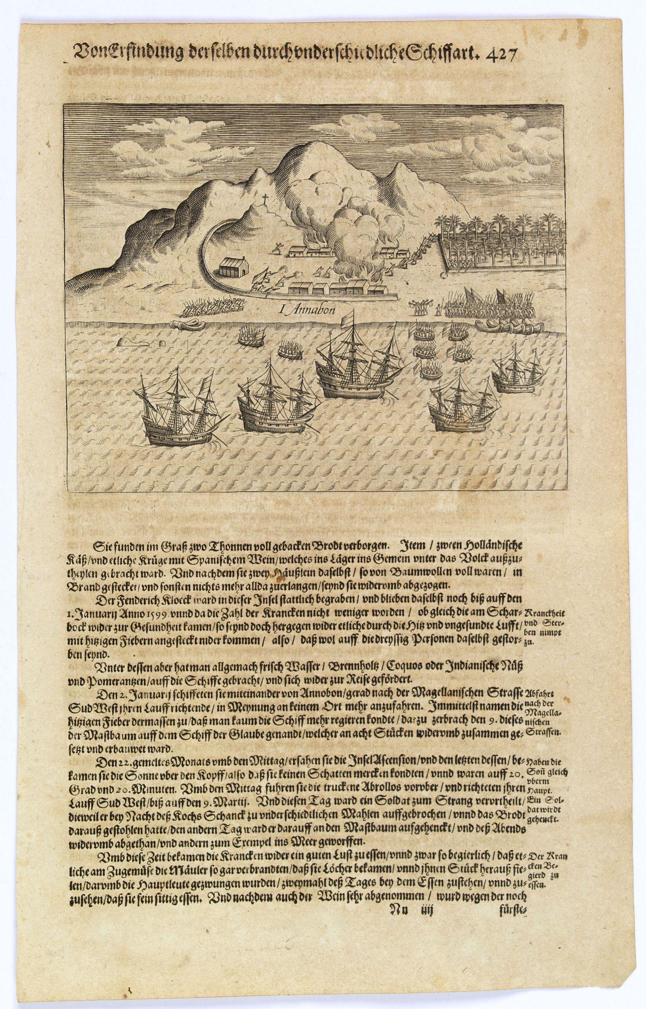 GOTTFRIED, J.L. / DE BRY. -  [The Dutch reach Annabon.]
