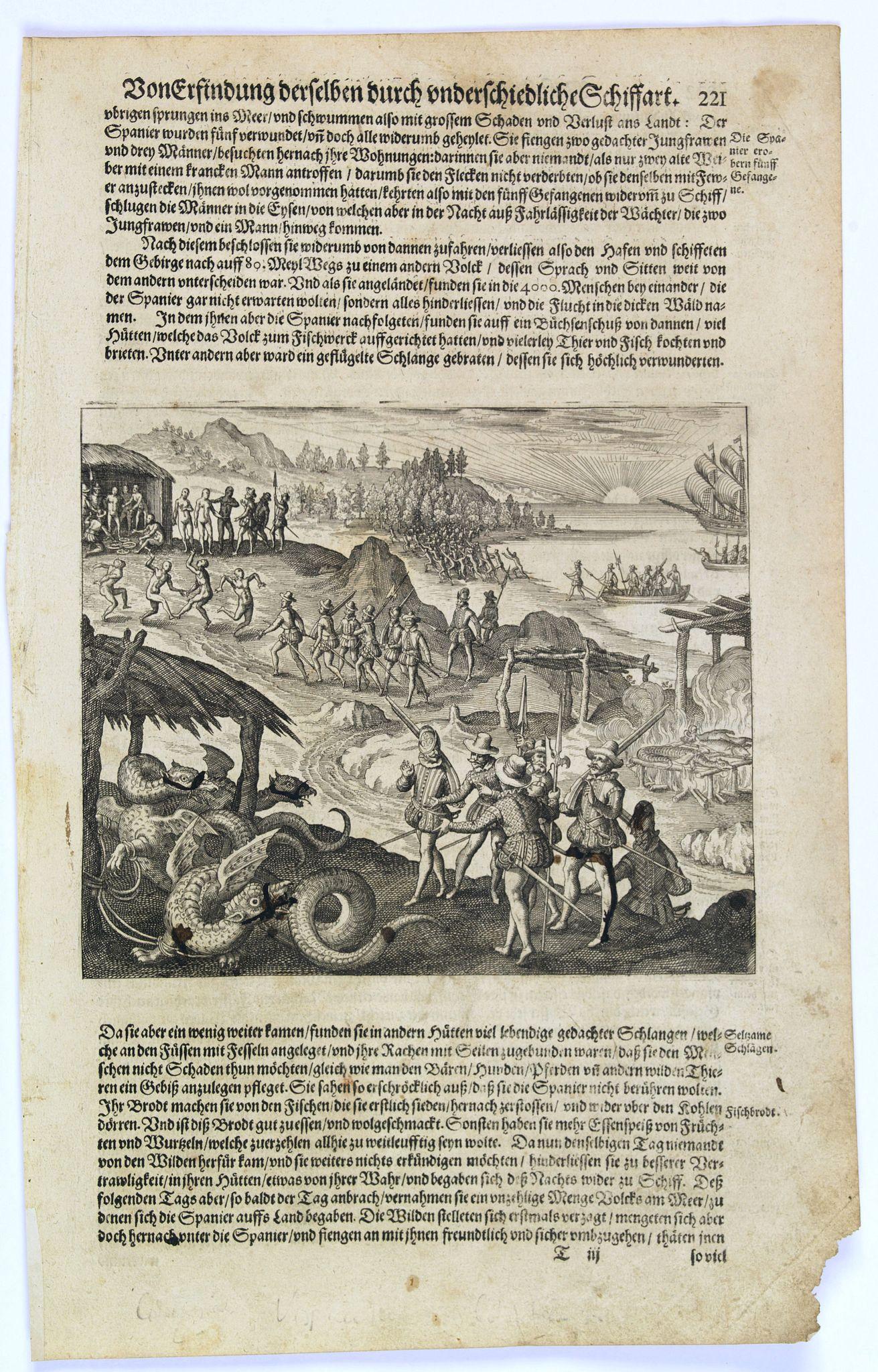 GOTTFRIED, J.L. / DE BRY. -  [Vespucci lands on Colombian shores.]