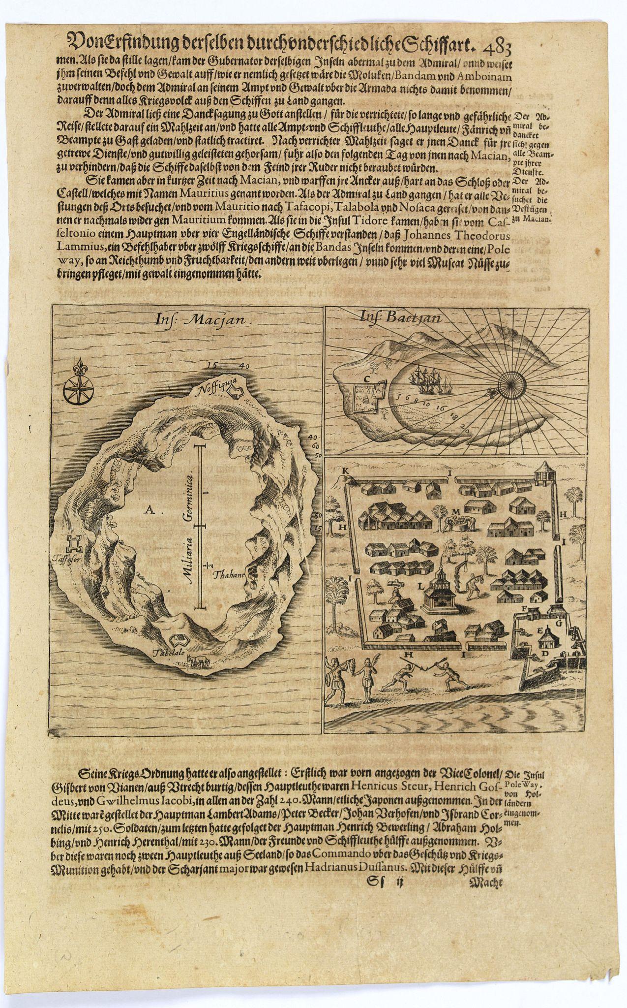 GOTTFRIED, J.L. / DE BRY. -  [Islands of Macian and Bacian.]