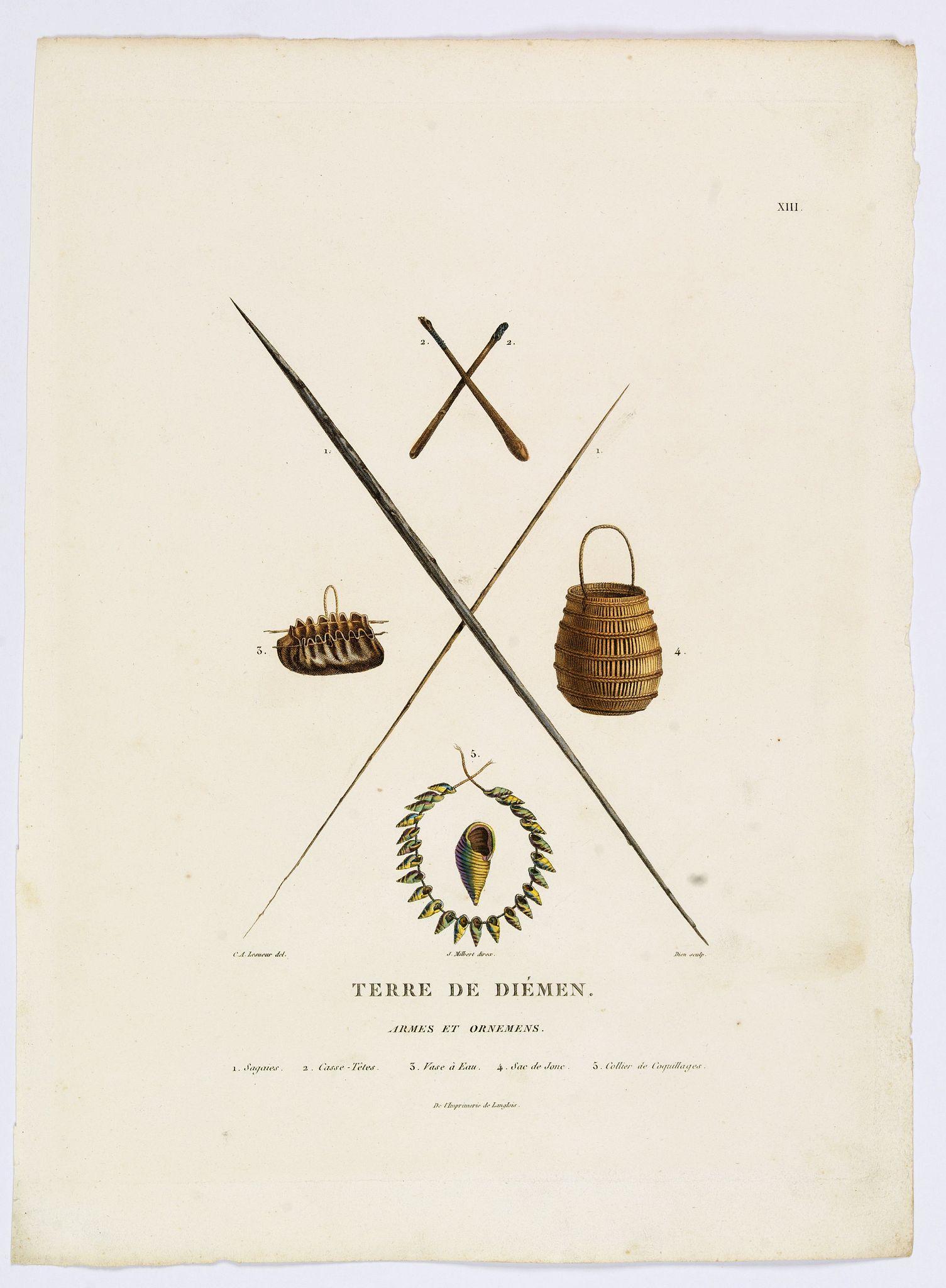 LESUEUR, C-A. / PERON, F. -  Terre de Diemen. Armes et Ornemens [plate XIII]