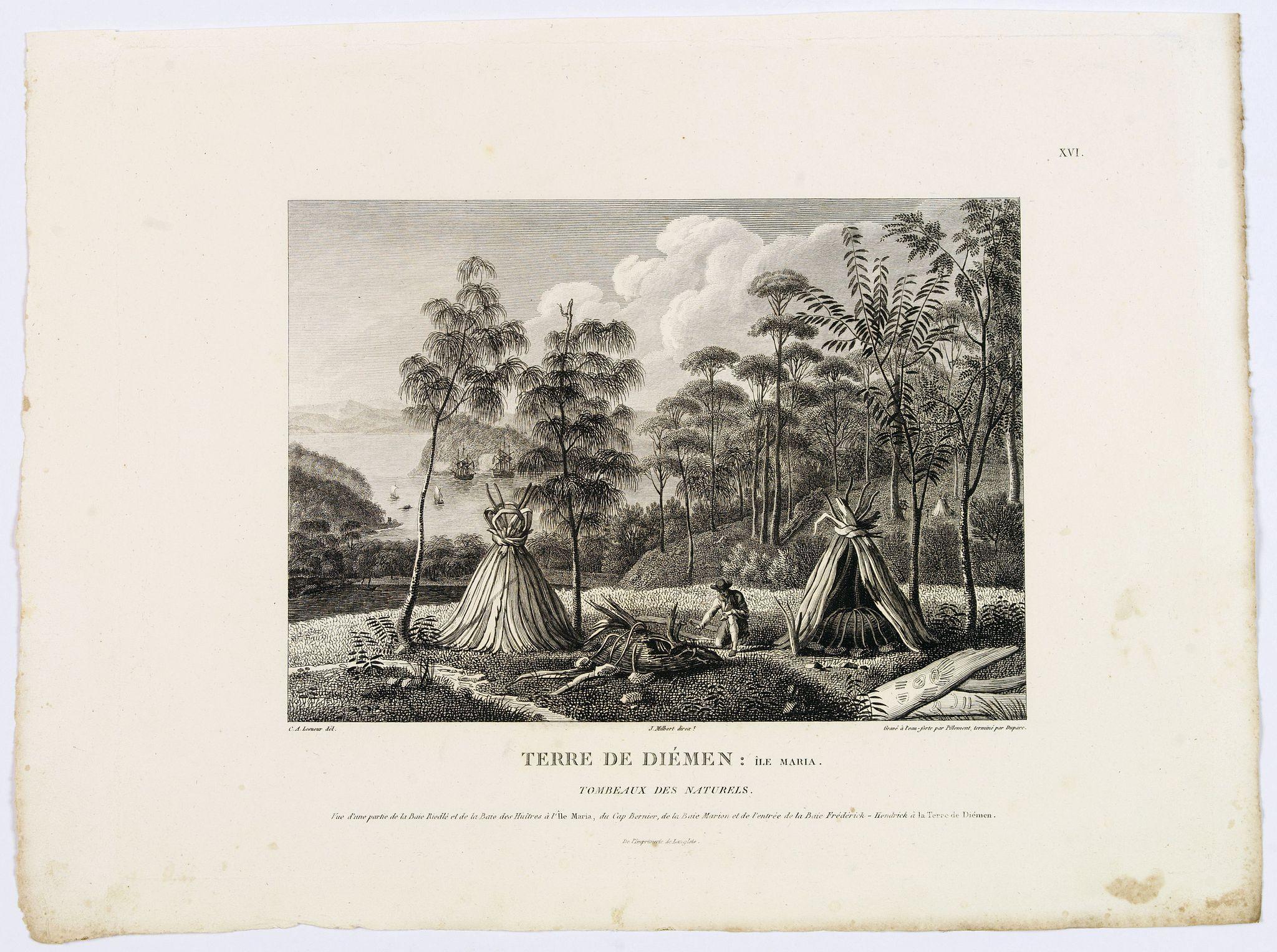 LESUEUR, C-A. / PERON, F. -  Terre de Diemen: Ile Maria. Tombeaux des Naturels. [plate XVI]