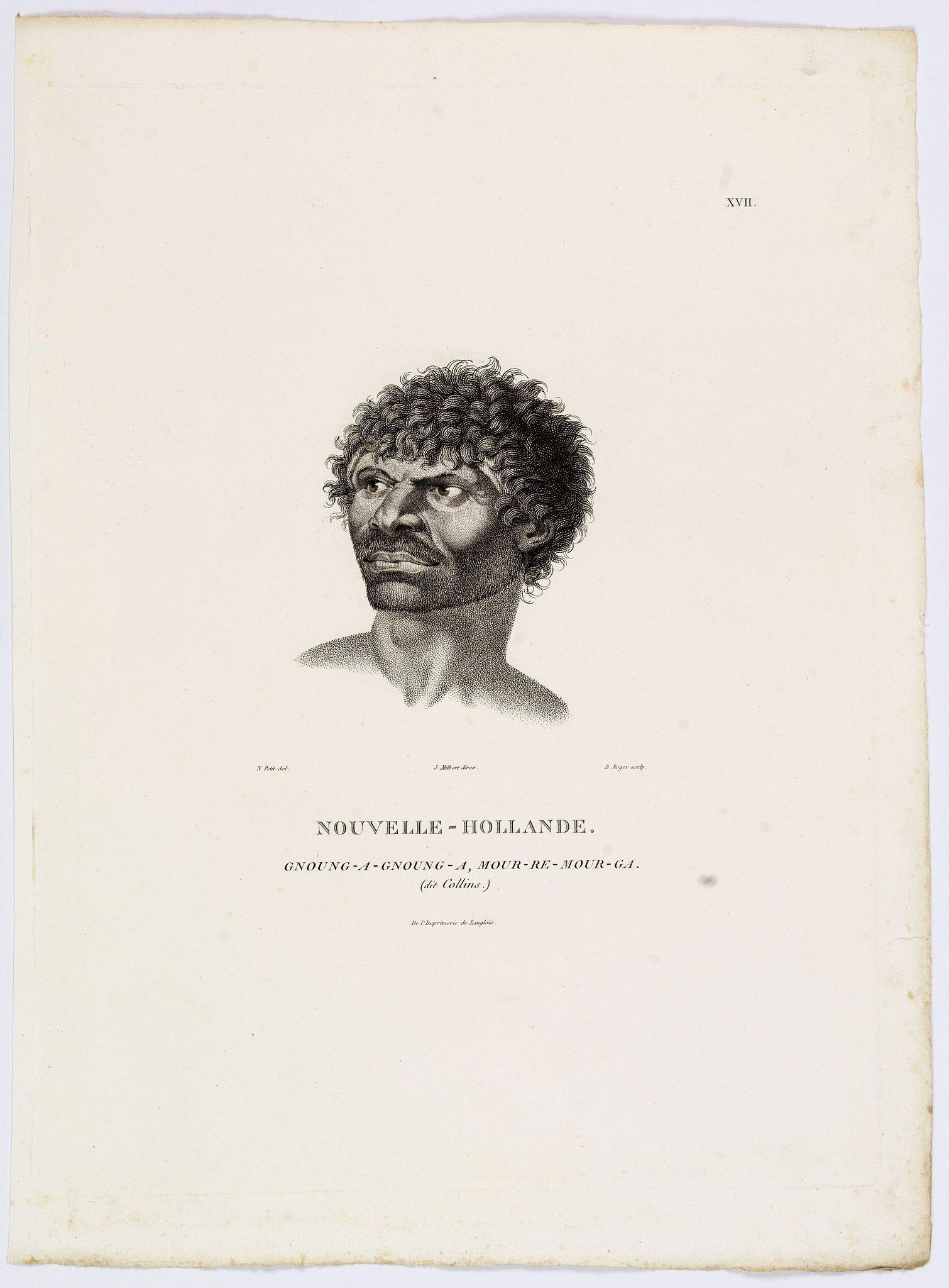 LESUEUR, C-A. / PERON, F. -  Nouvelle-Hollande. Gnoung-A-Gnoung-A, Mour-Re-Mour-Ga.  [plate XVII ]