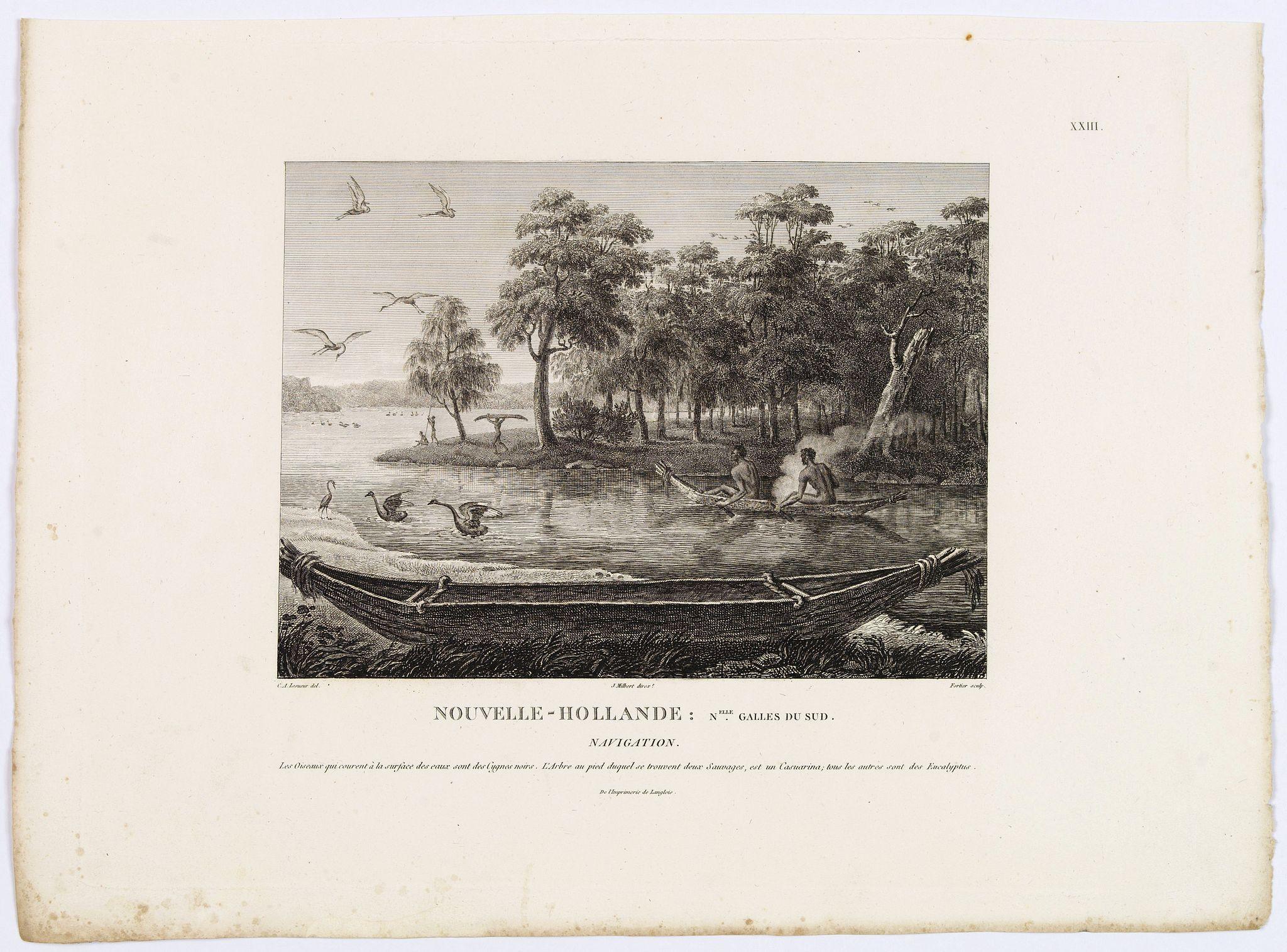 LESUEUR, C-A. / PERON, F. -  Nouvelle-Hollande: Nouvelle Galles du Sud. Navigation. [plate XXIII]