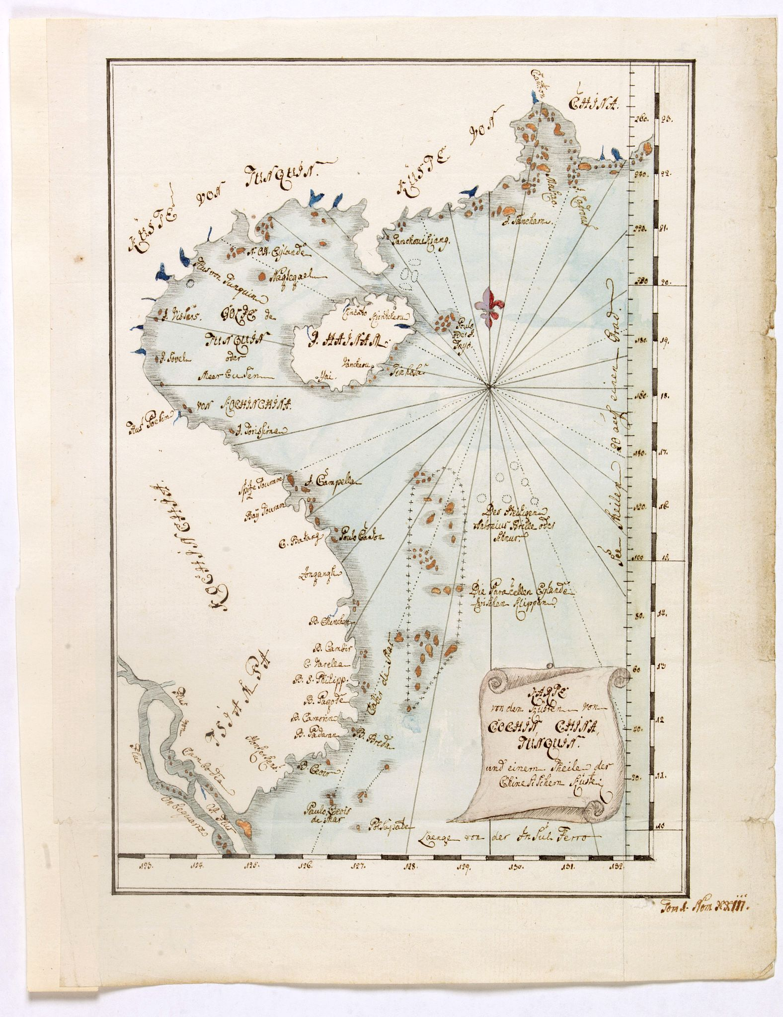 ANONYMOUS -  Karte von den Küsten von Cochin China, Tunquin und einem Theile der chinesischen Küste