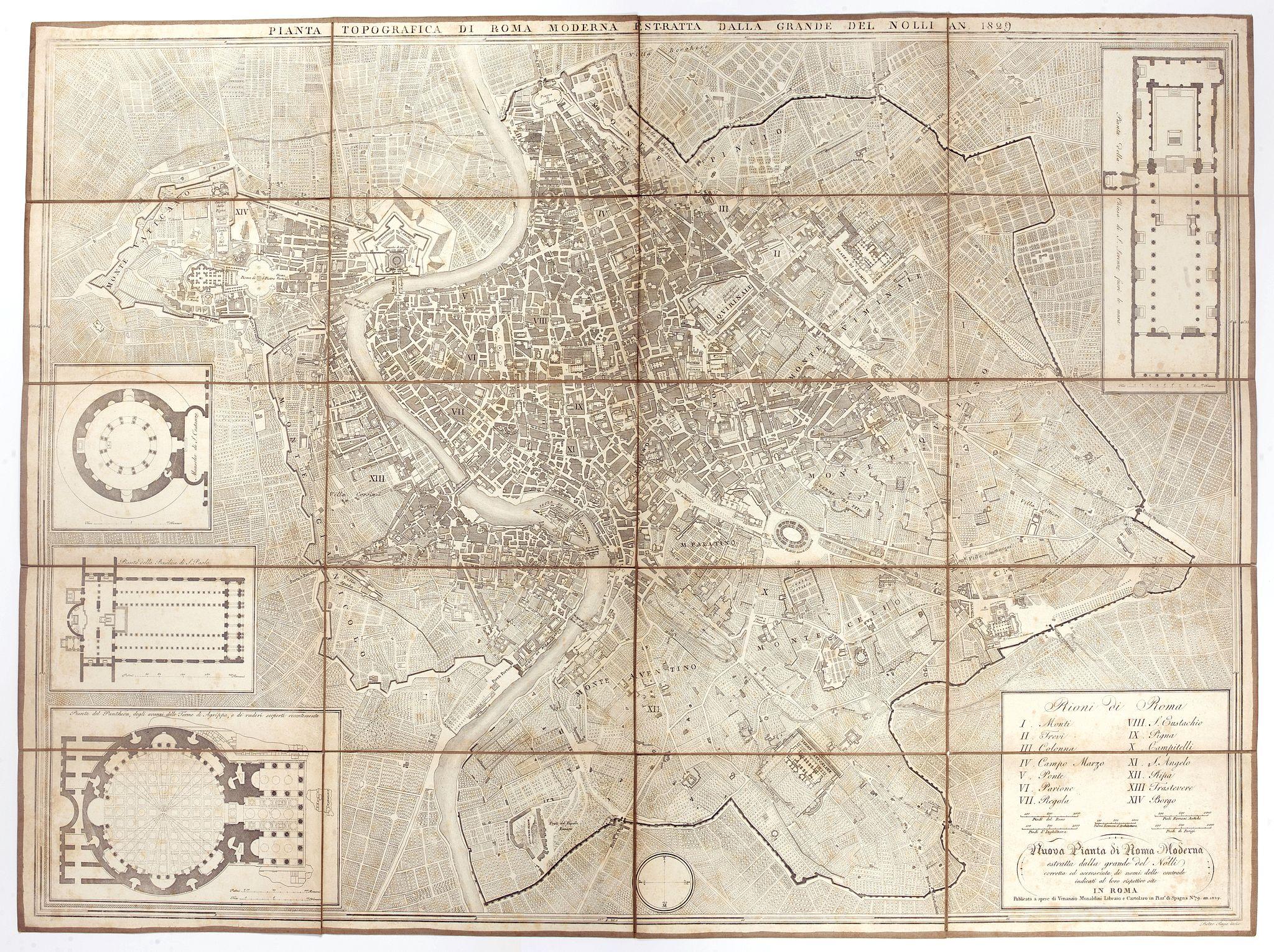 NOLLI, G.B. / MONALDINI, V. -  Pianta topografica di Roma moderna estratta dalla grande del Nolli an 1829