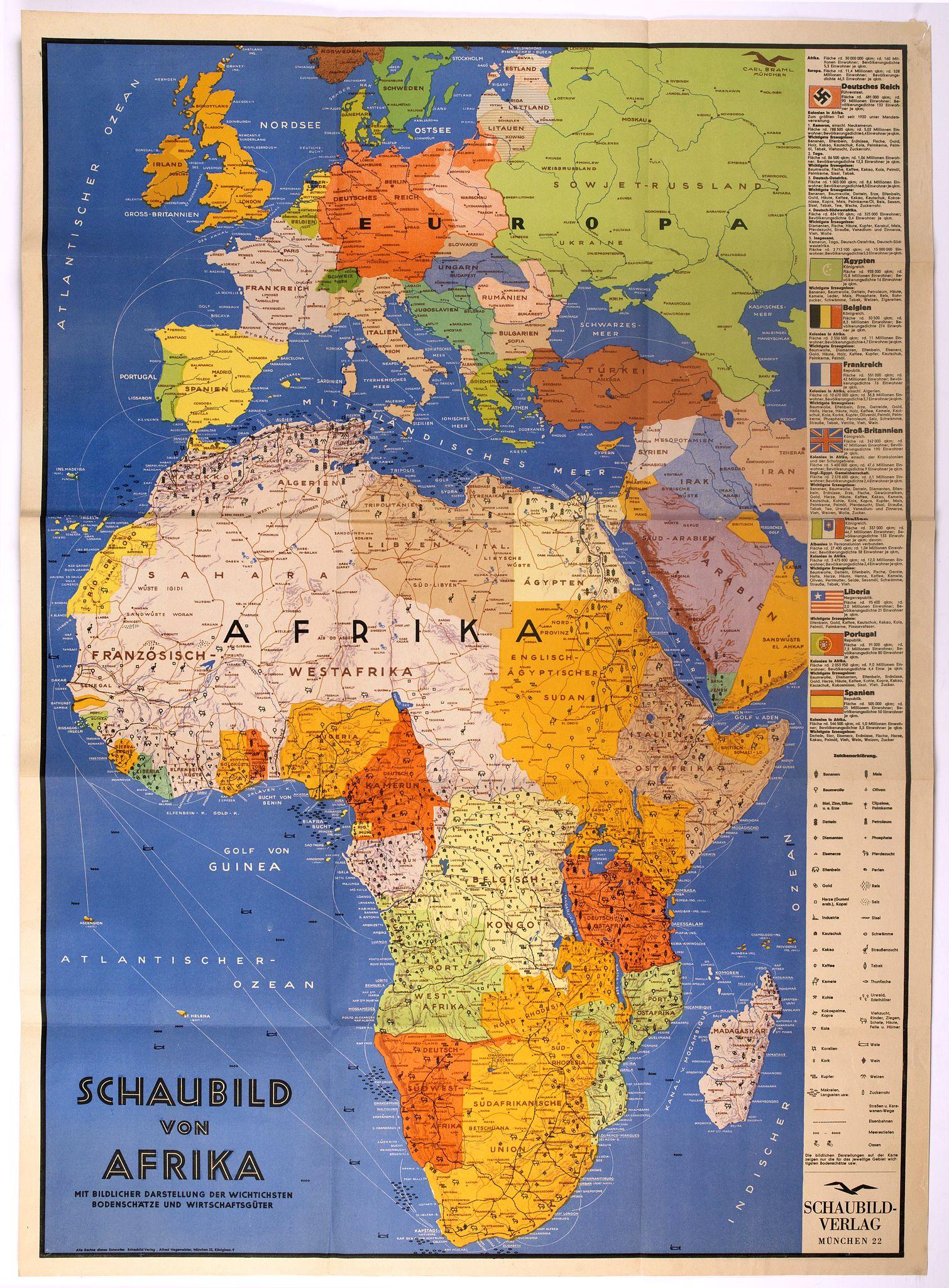 SCHAUBILD VERLAG -  Schaubild von Afrika mit bildlicher Darstellung der wichtigsten Bodenschätze und Wirtschaftgüter.