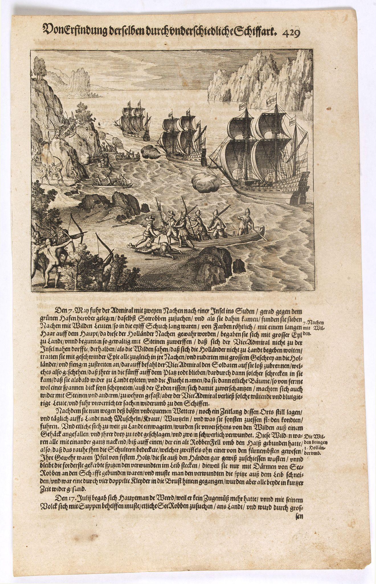 GOTTFRIED, J.L. / DE BRY, T. -  [Sebald de Weert arriving in South America].