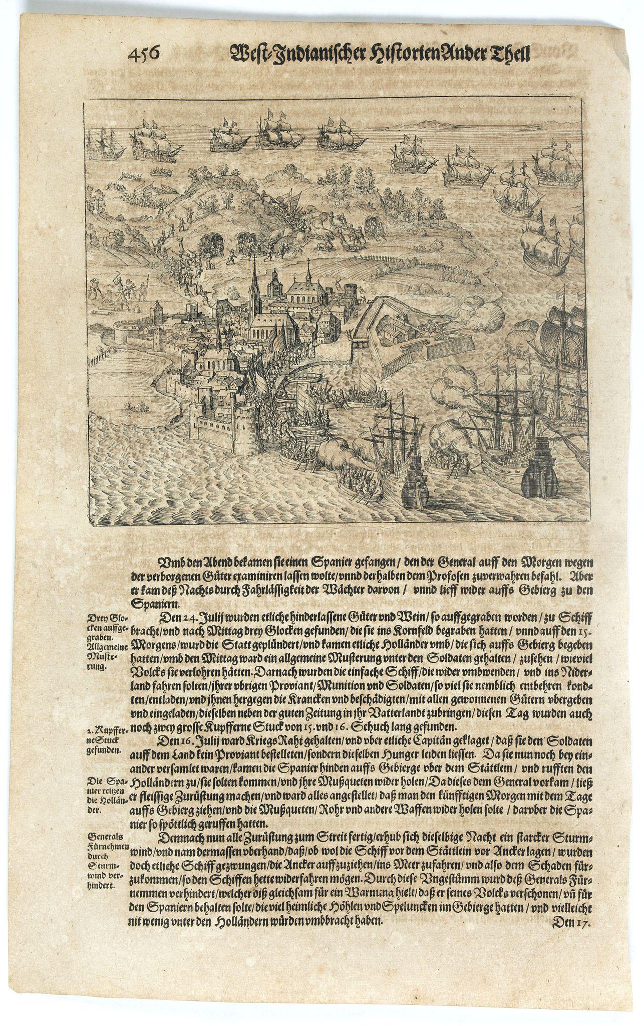 GOTTFRIED, J.L. / DE BRY, T. -  [Attack of Dutch fleet commanded by Pieter van der Does of Gran Canaria in 1599].