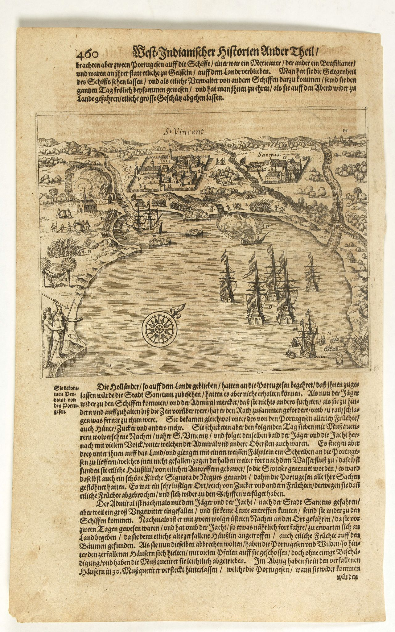 GOTTFRIED, J.L. / DE BRY, T.,  [The Portuguese settlement in Brazil, at the Island of St. Vincent]., antique map, old maps
