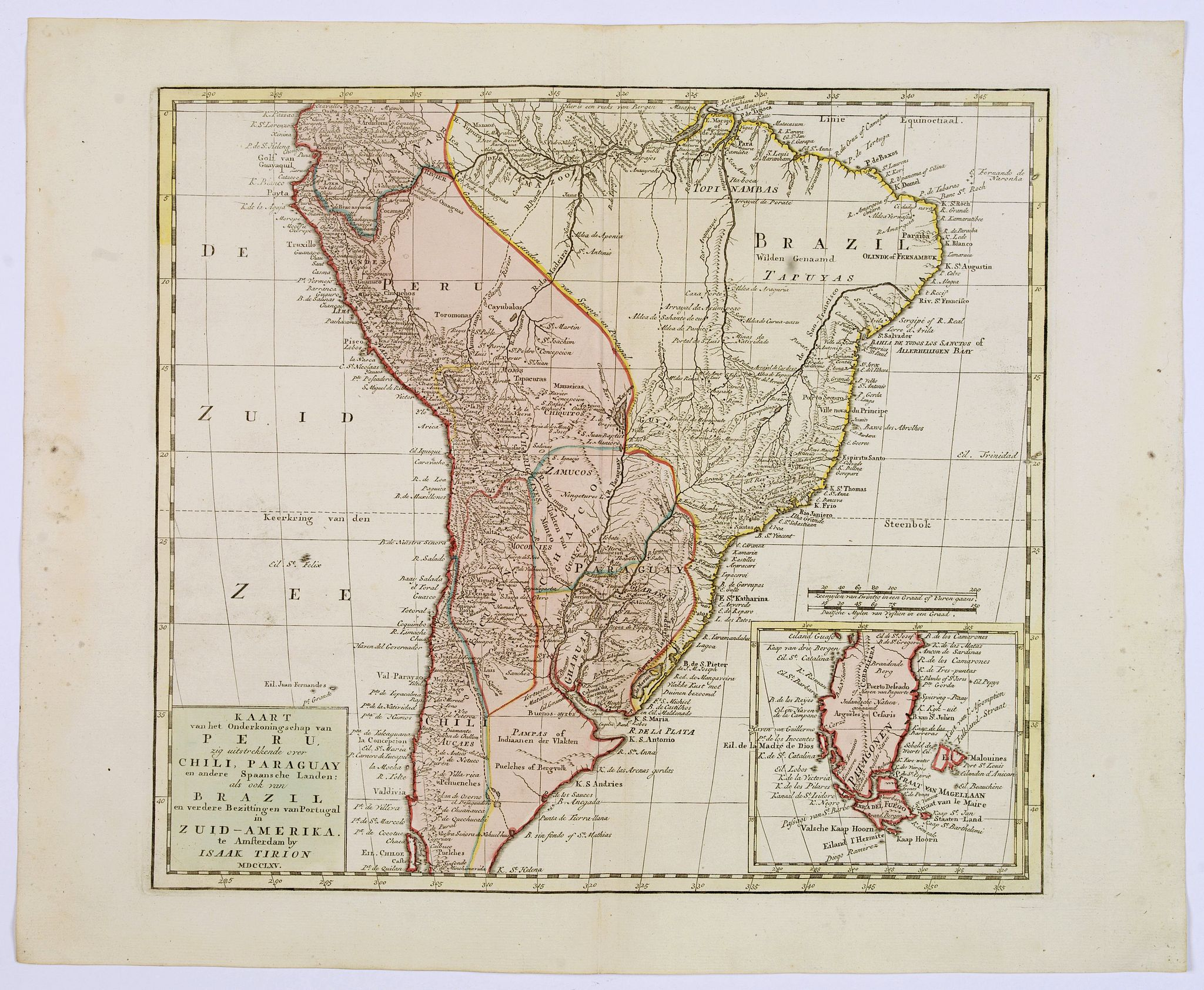 TIRION, I., Kaart.. Peru,.. Chili, Paraguay..Brazil.. in Zuid-Amerika., antique map, old maps