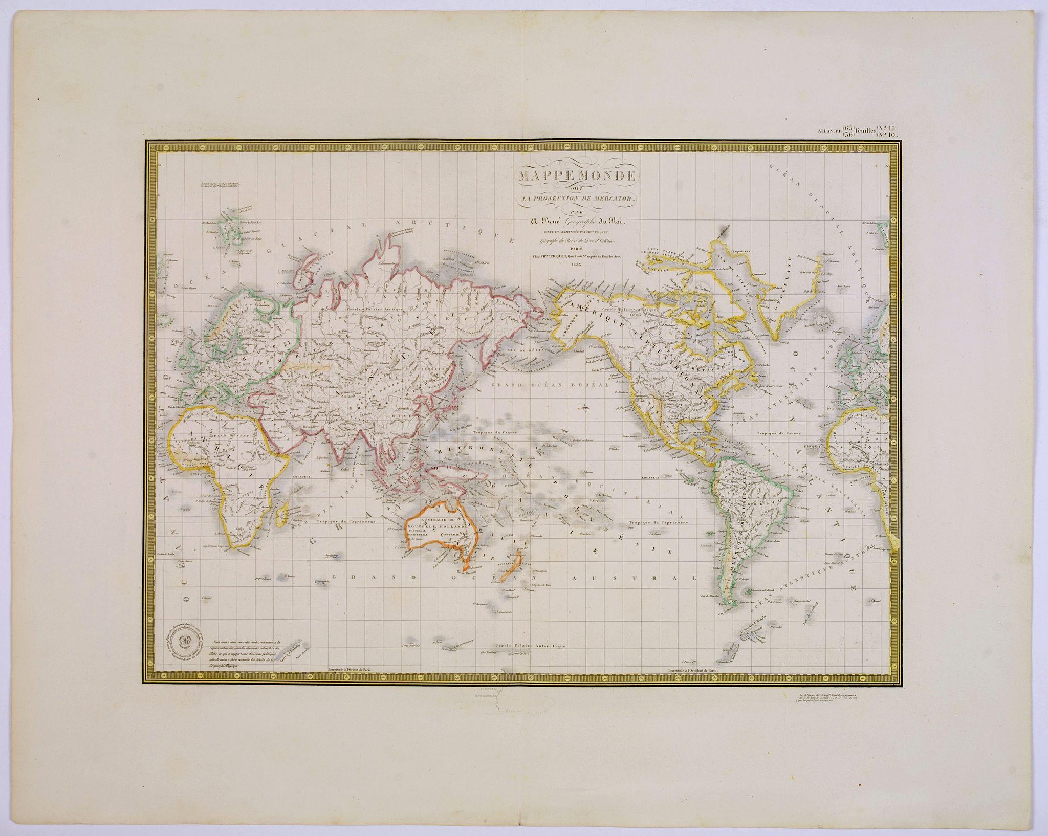 BRUE, H. - Mappe-Monde sur la projection de Mercator. . .