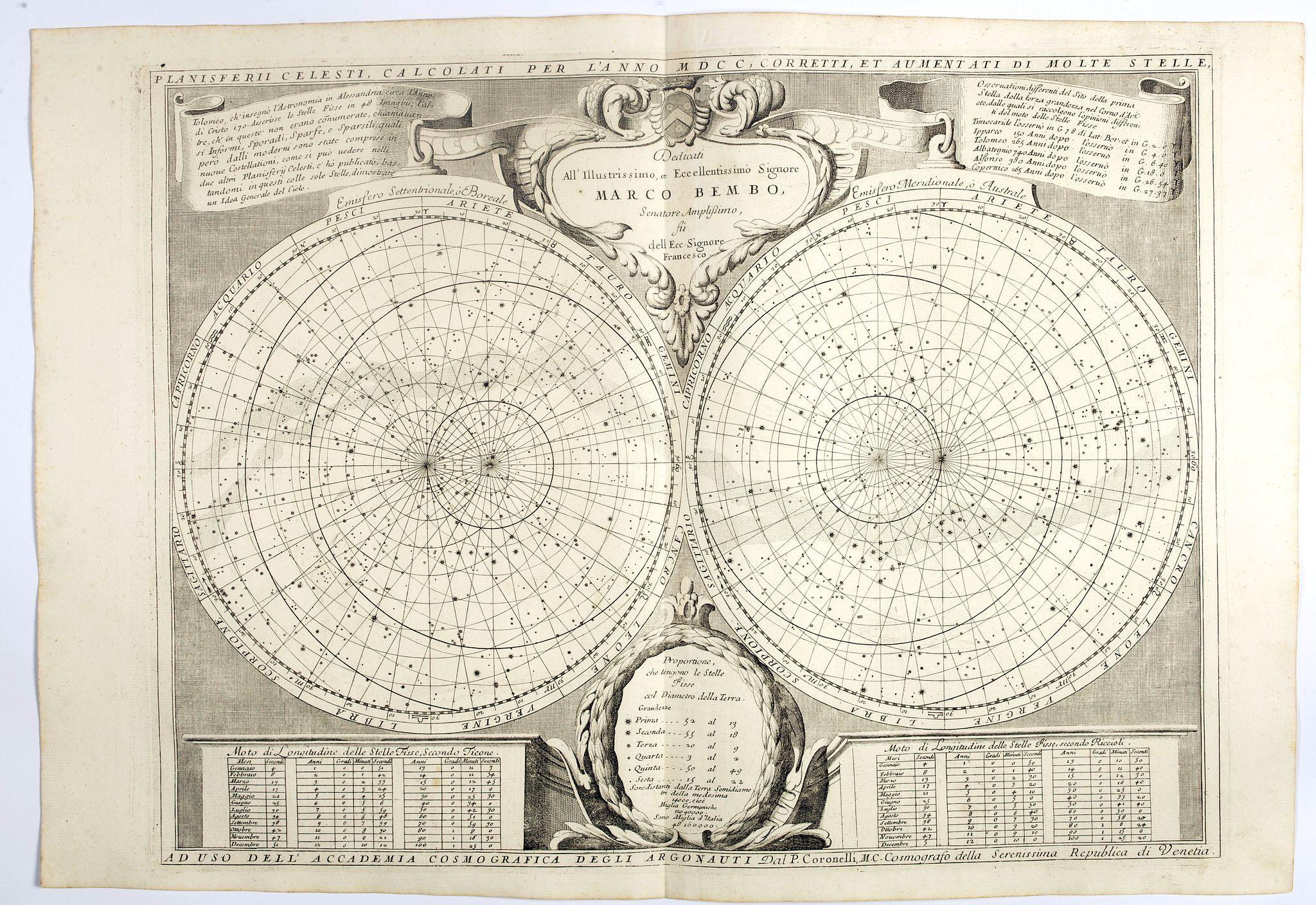 CORONELLI, V. -  Planisferii Celesti, Calcolati Per L'Anno MDCC, Corretti, Et Aumenati Di Molte Stelle . . .