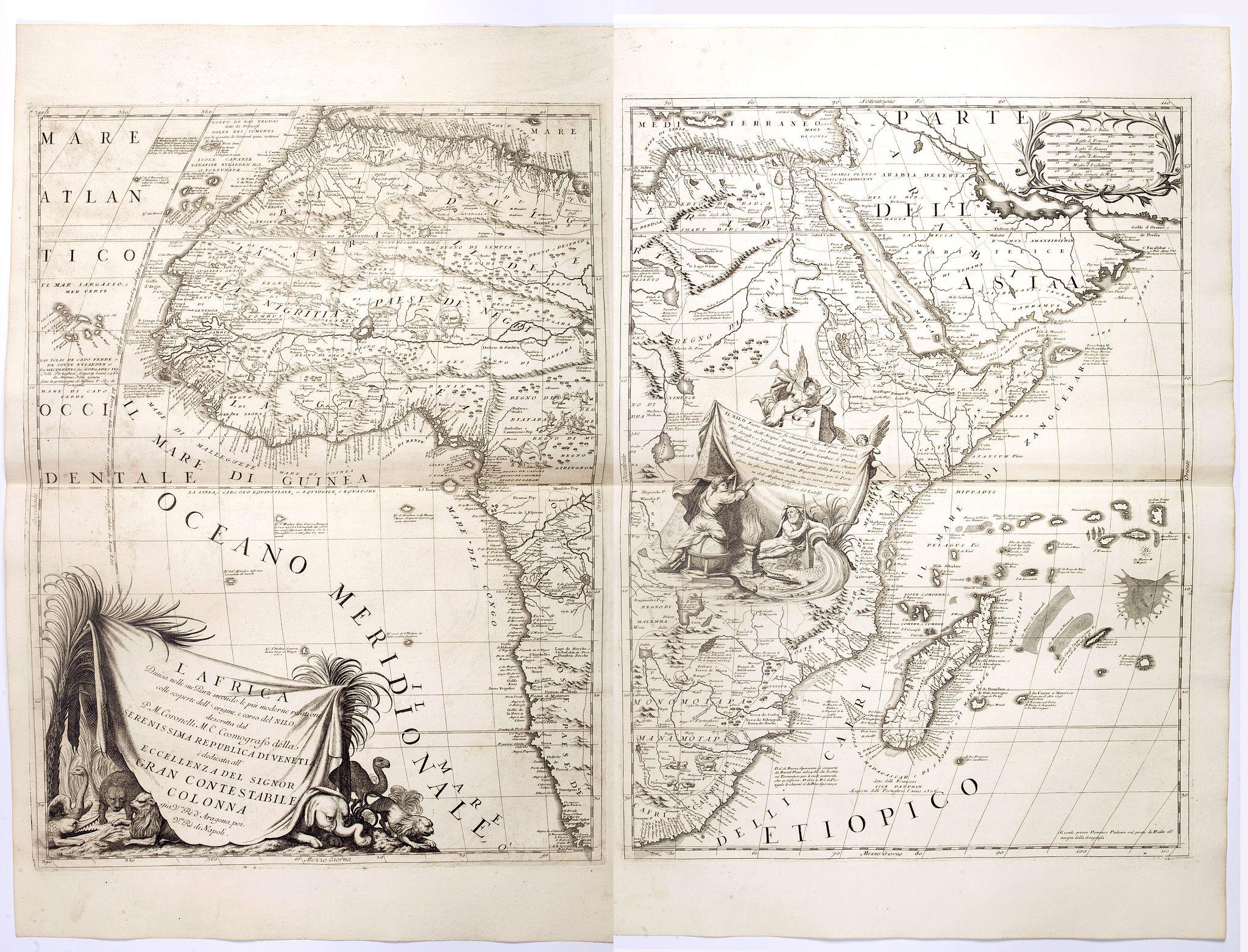 CORONELLI, V. M. - L'AFRICA divisa nelle sue Parti secondo le pui moderne..