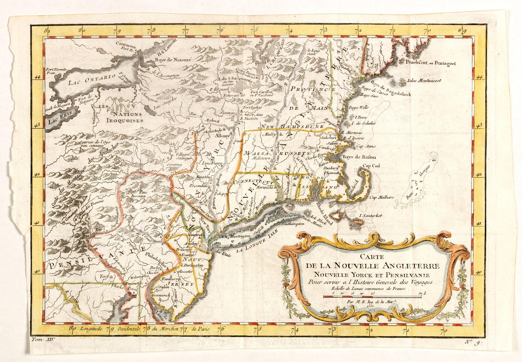 BELLIN, J.N. - Carte de la Nouvelle Angleterre, Nouvelle York et Pensilvanie / Pour servir à l'Histoire Générale des Voyages.