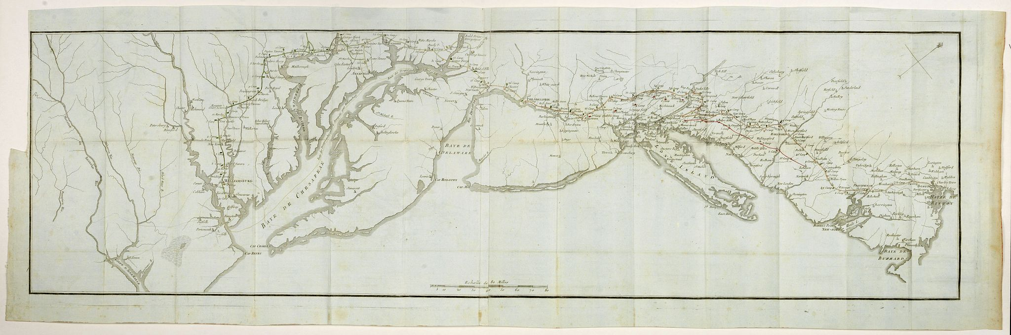 SOULES, F.,  [untitled map showing the route of the Continental Army from Boston to Yorktown], antique map, old maps