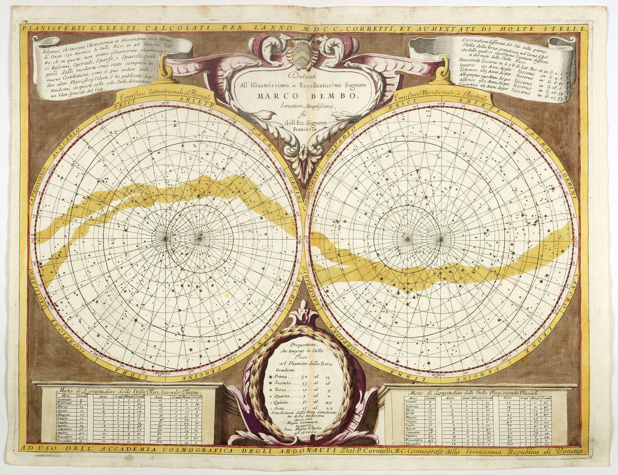 CORONELLI, V. -  Planisferii Celesti, Calcolati Per L