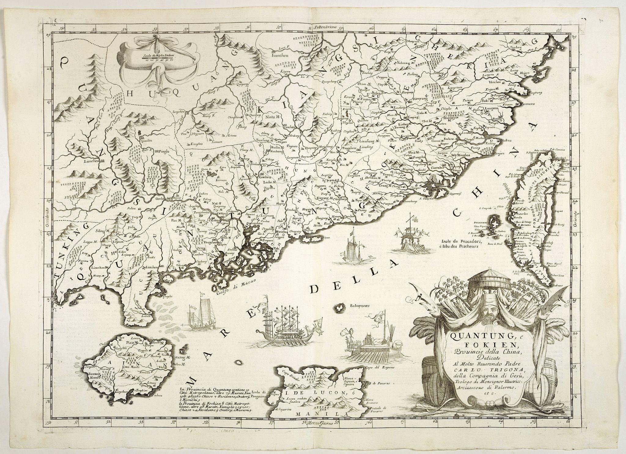 CORONELLI, V.M. -  Quantung, e Fokien, Provincie della China. . .