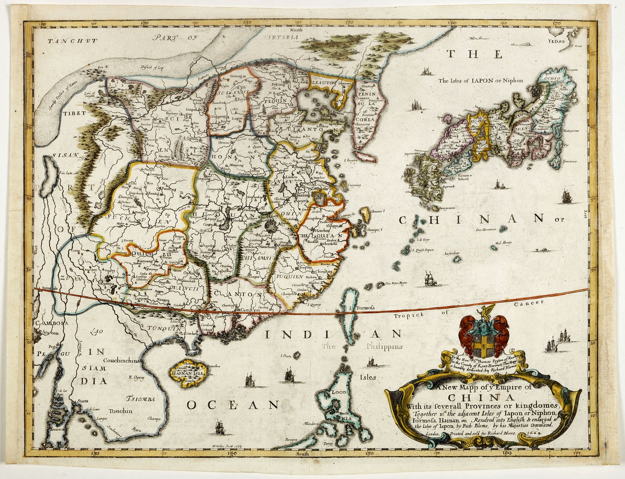BLOME,R. -  A New Mapp of y Empire of China With its severall Provinces or kingdomes . . .