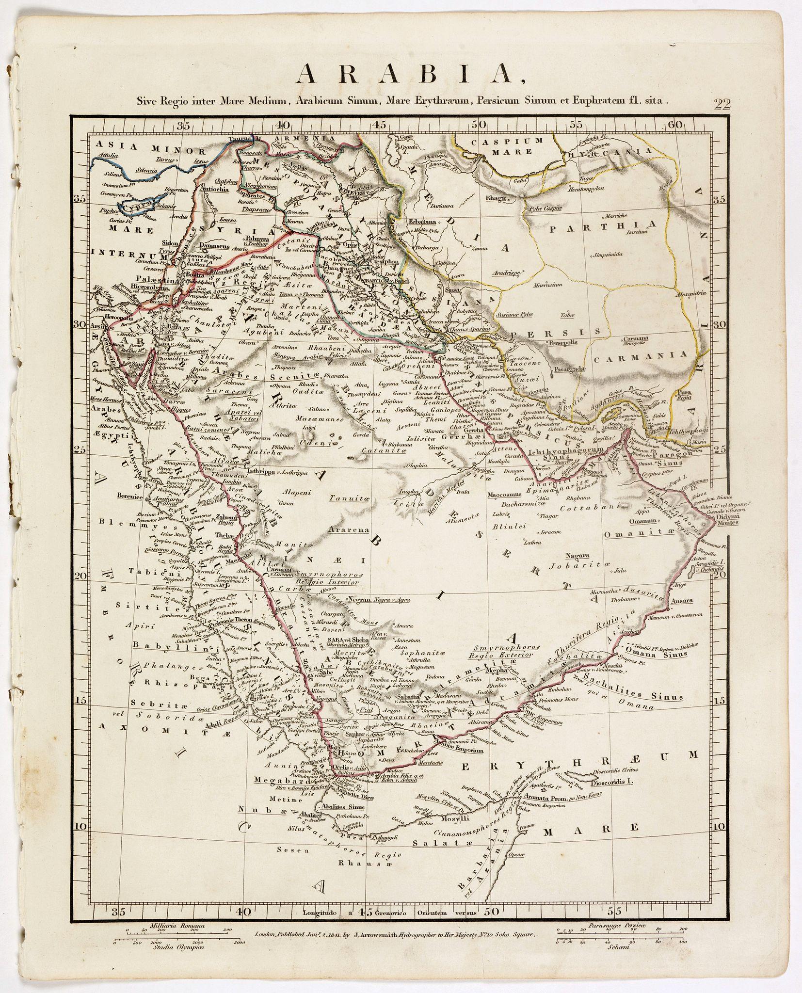 ARROWSMITH, John -  Arabia. Sive Regio inter Mare Medium, Arabicum Sinum, . . .