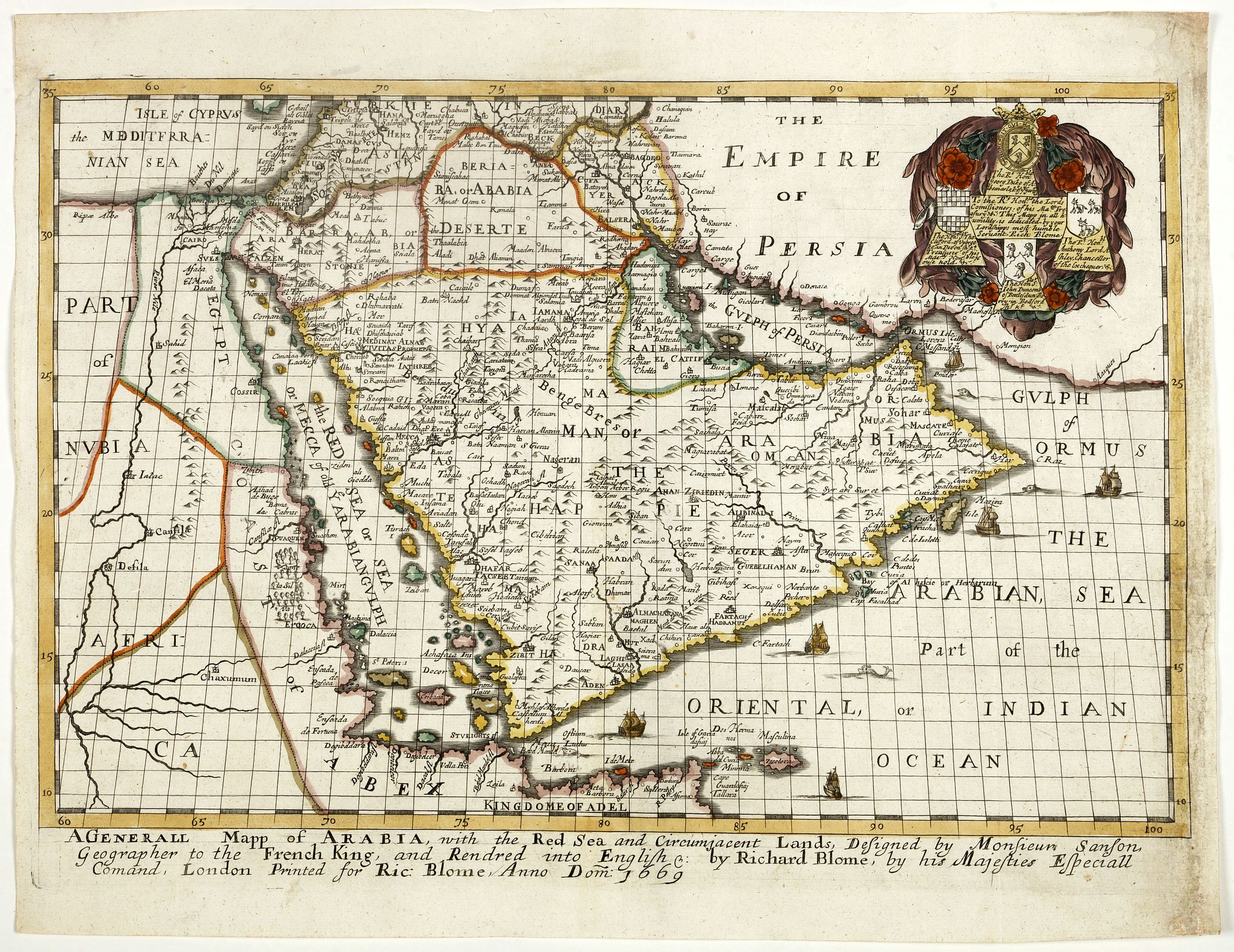 BLOME,R. - A generall mapp of Arabia, with the Red Sea and circumjacent lands . . .