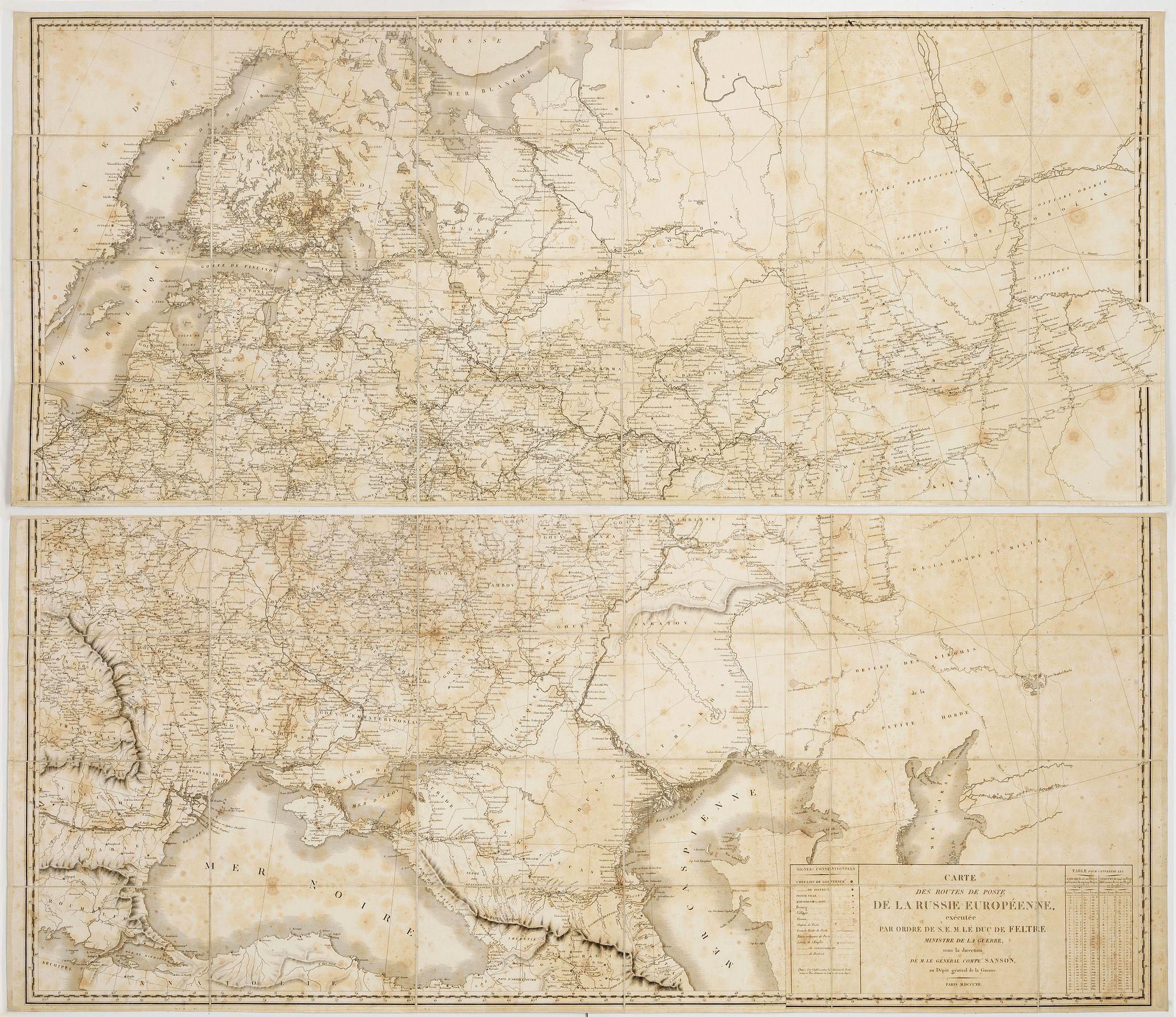 SANSON (Nicolas Antoine, comte) -  Carte des routes de poste de la Russie européenne, exécutée par ordre de S.E.M. le duc de Feltre ministre de la Guerre, sous la direction de M. le général comte Sanson.