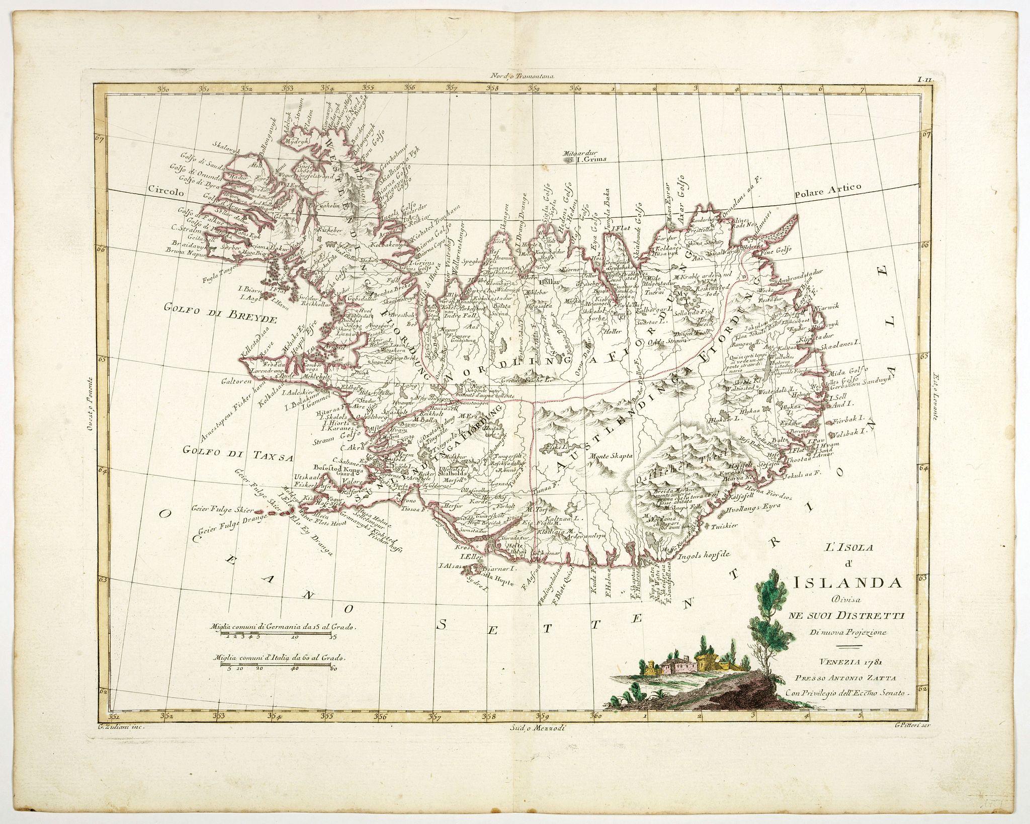 ZATTA, A -  L'Isola d'Islanda divisa Ne Suoi Distretti Di nuova Projezione.