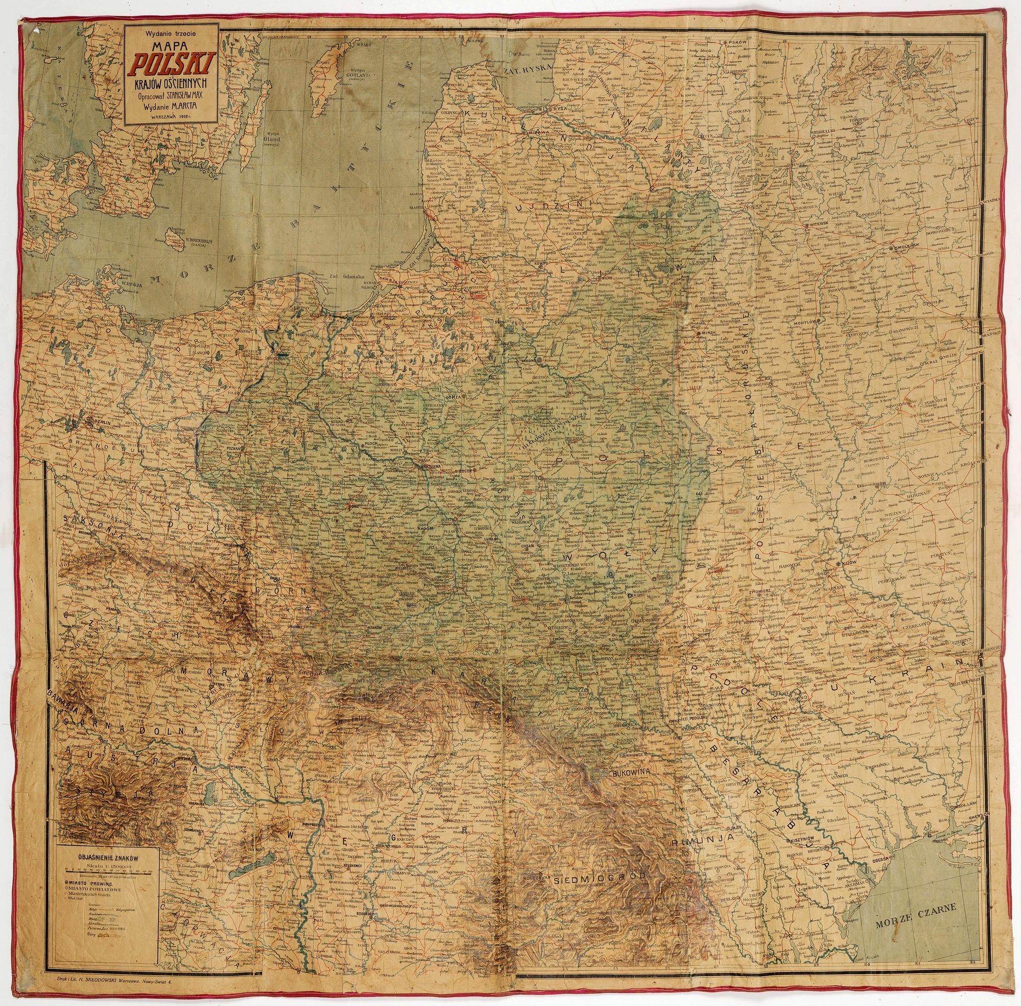 Stanislaw MAX. -  Mapa Polski i Krajów Osciennych - Wydanie trzecie. Opracowal Stanislaw Max. Wydani M. Arcta.