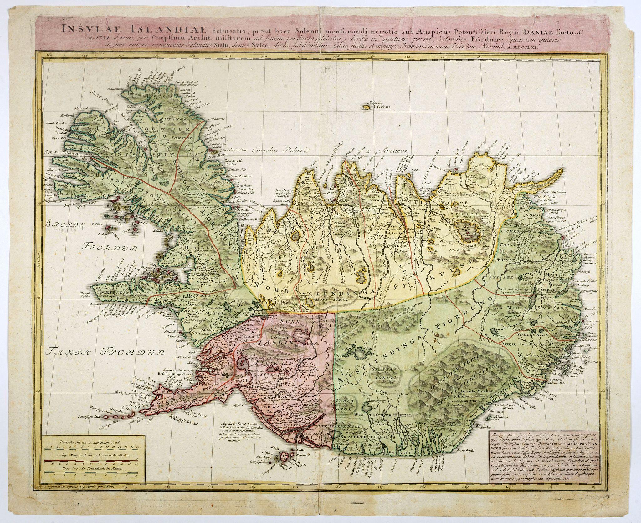 HOMANN, J.B. -  Insulae Islandiae delineatio : prout haec Solenni mensurandi negotio sub Auspiciis Potensissimi Regis Daniae facto . . .