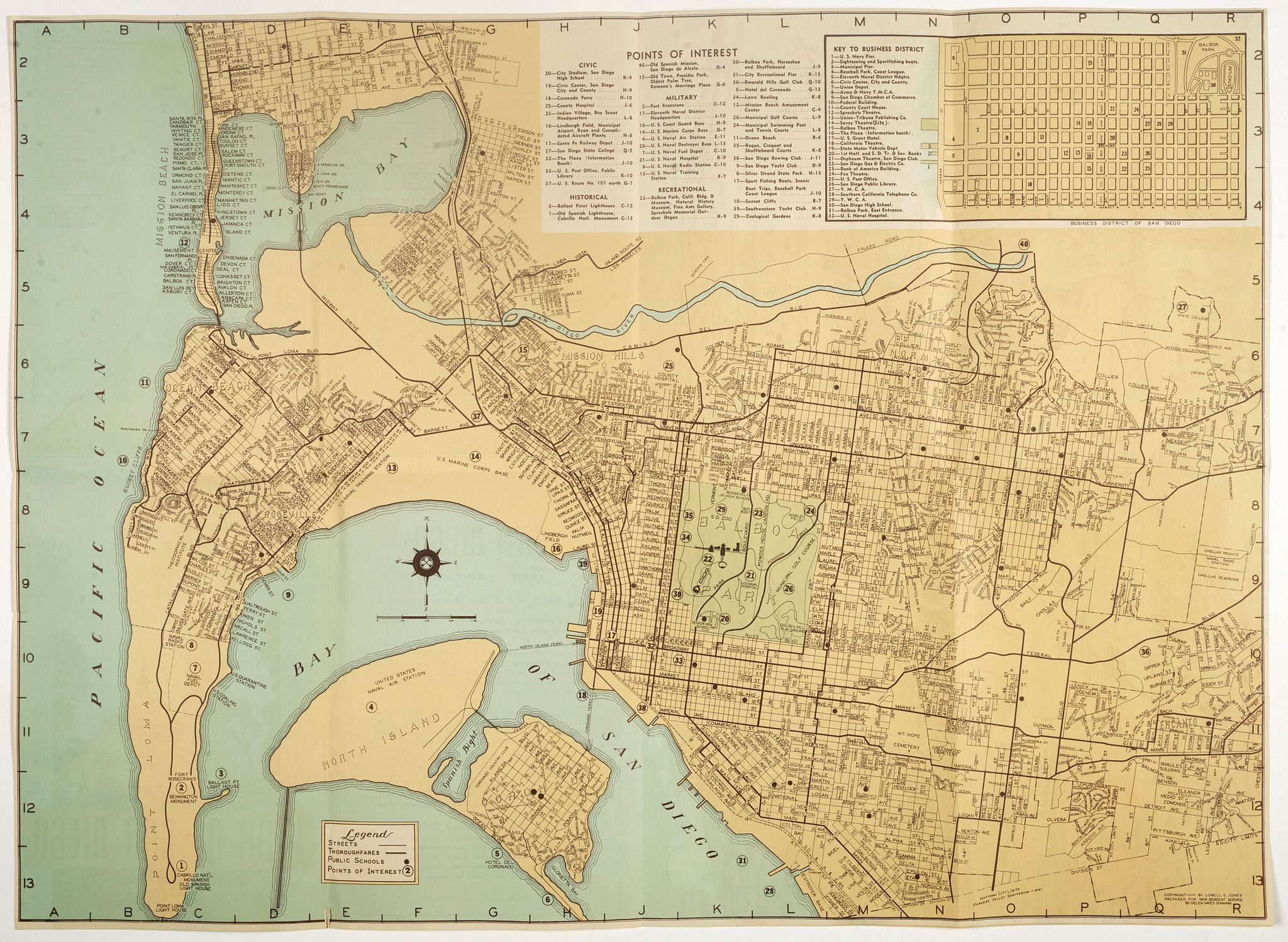 JONES - Map of San Diego California City and County.
