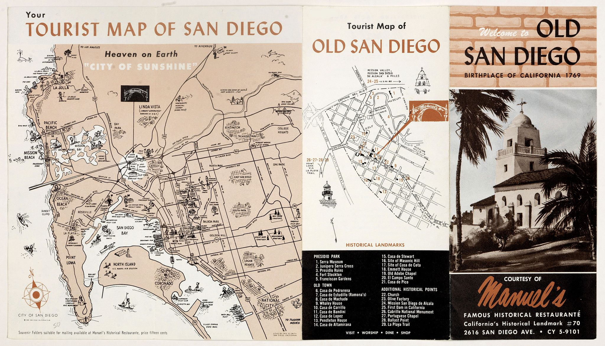 FRYE & SMITH,  Welcome to old San Diego, birthplace of California 1769., antique map, old maps