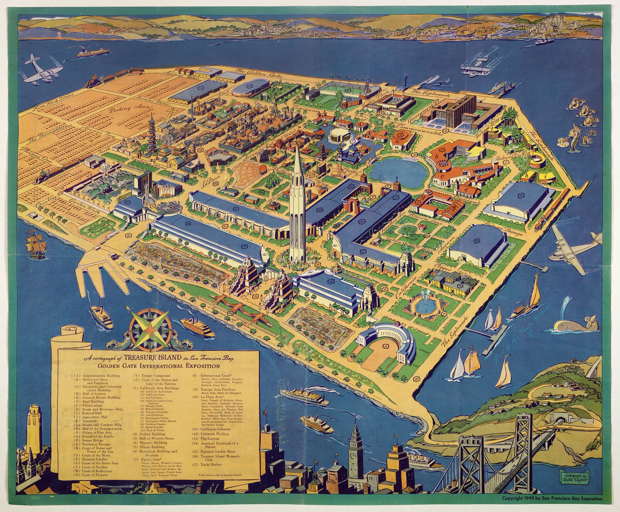 TAYLOR, R.,  A cartograph of Treasure Island in San Francisco Bay Golden Gate International Exposition,, antique map, old maps