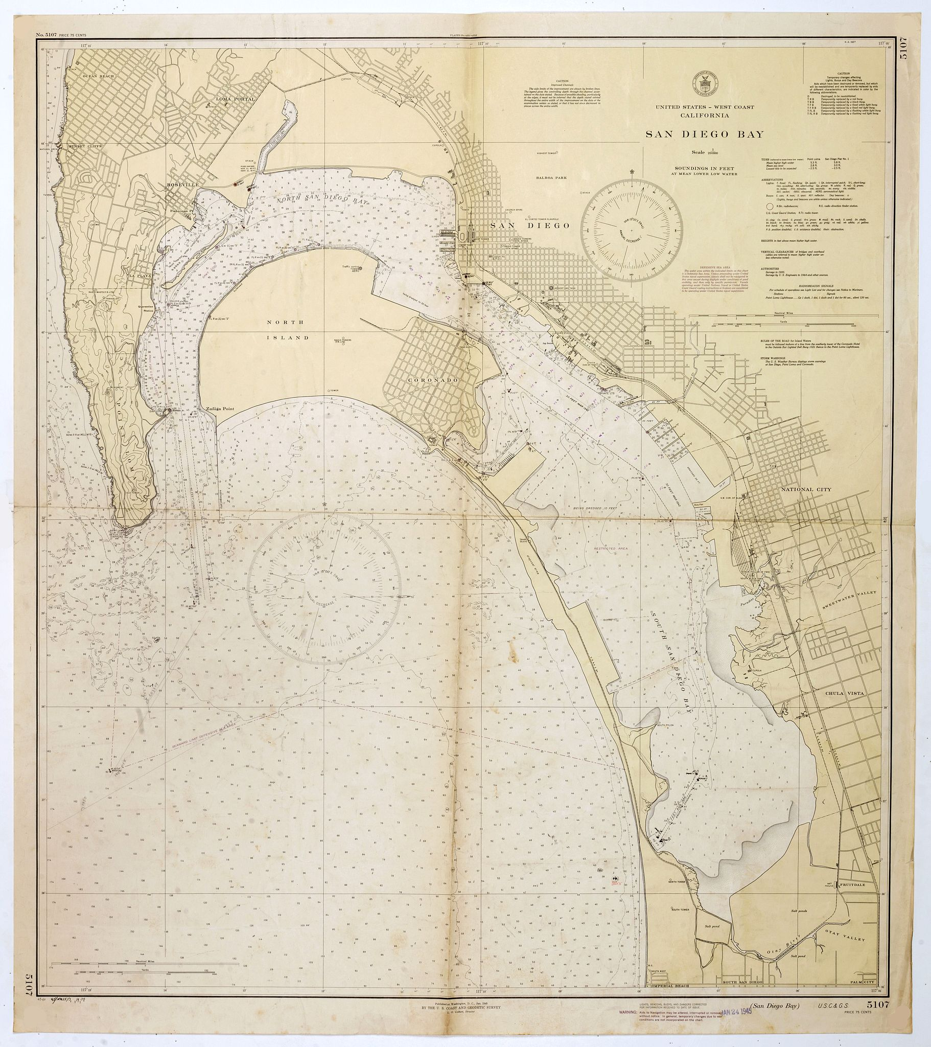 U.S. COAST AND GEODETIC SURVEY,  San Diego Bay. (Chart 5107), antique map, old maps