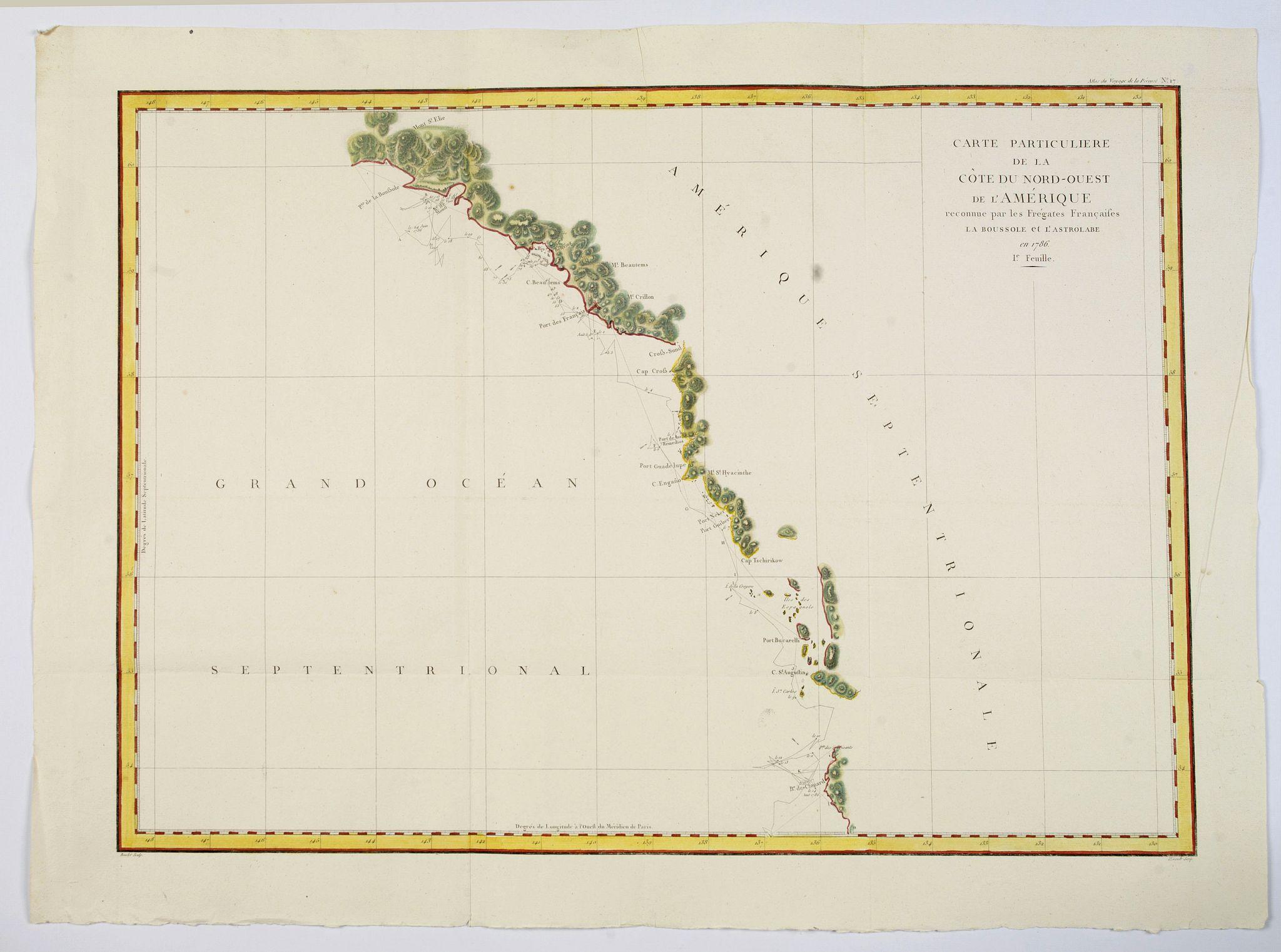 LA PEROUSE, Jean. - Carte Particuliere de la Cote du Nord-Ouest de l'Amerique reconnue par les Fregates Francaises la Boussole et l' Astrolabe en 1786 1e. Feuille.