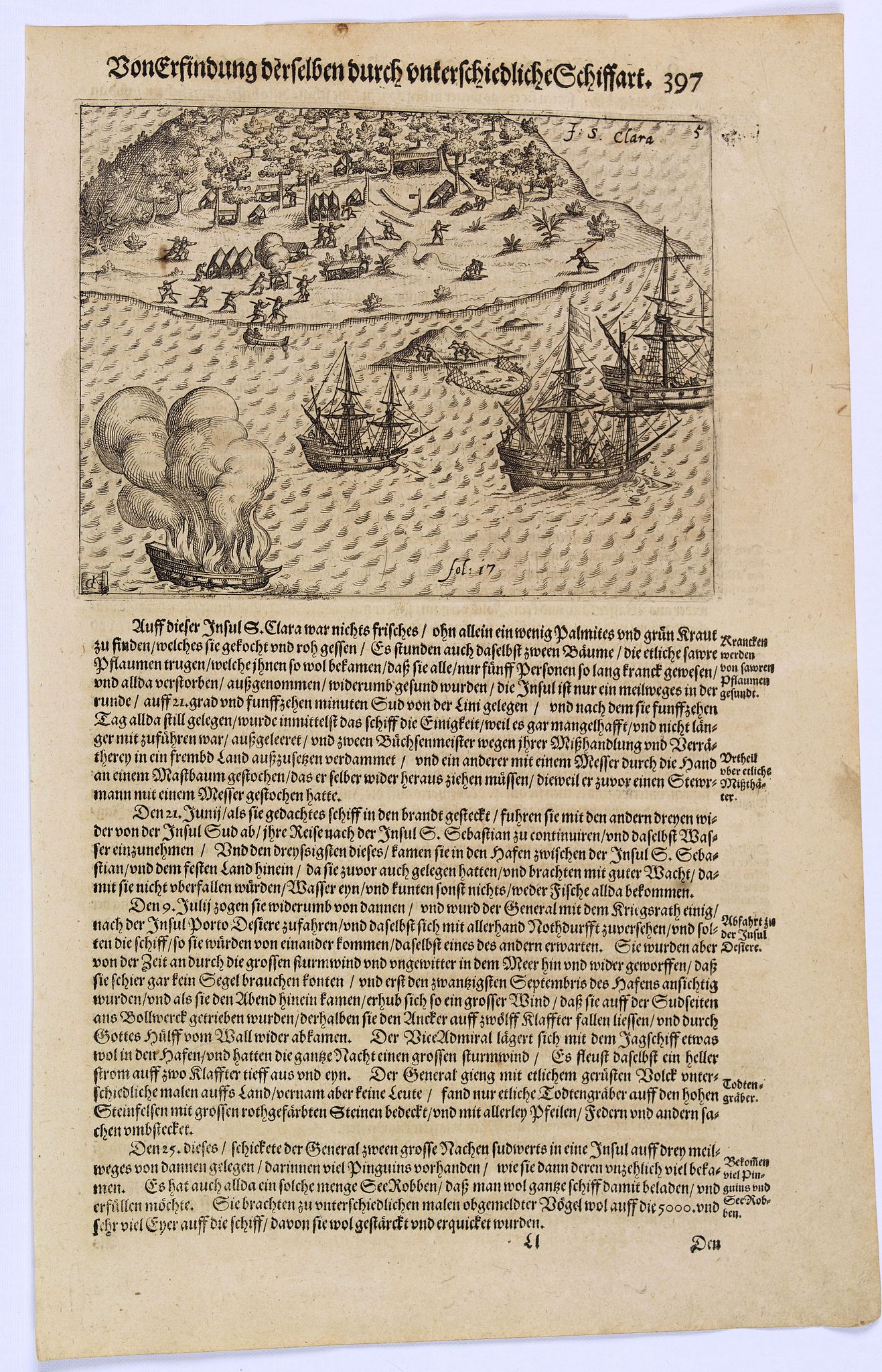 GOTTFRIED, J.L. / DE BRY.,  [The Dutch covalesce on the Isle Santa Clara.], antique map, old maps