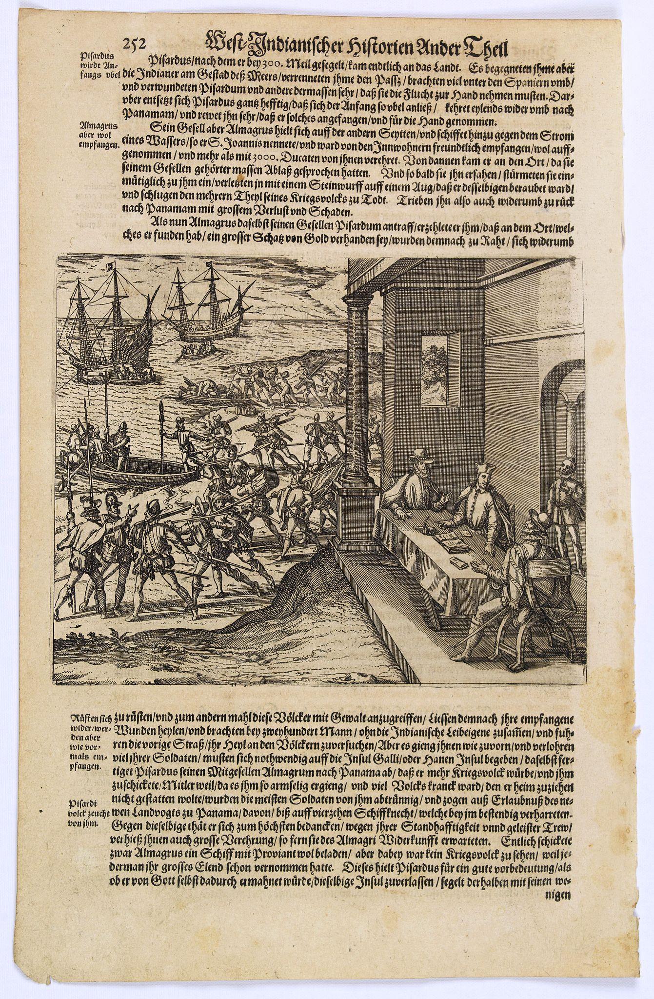 GOTTFRIED, J.L. / DE BRY. -  [Plans in Panama for the conquest of Peru.]