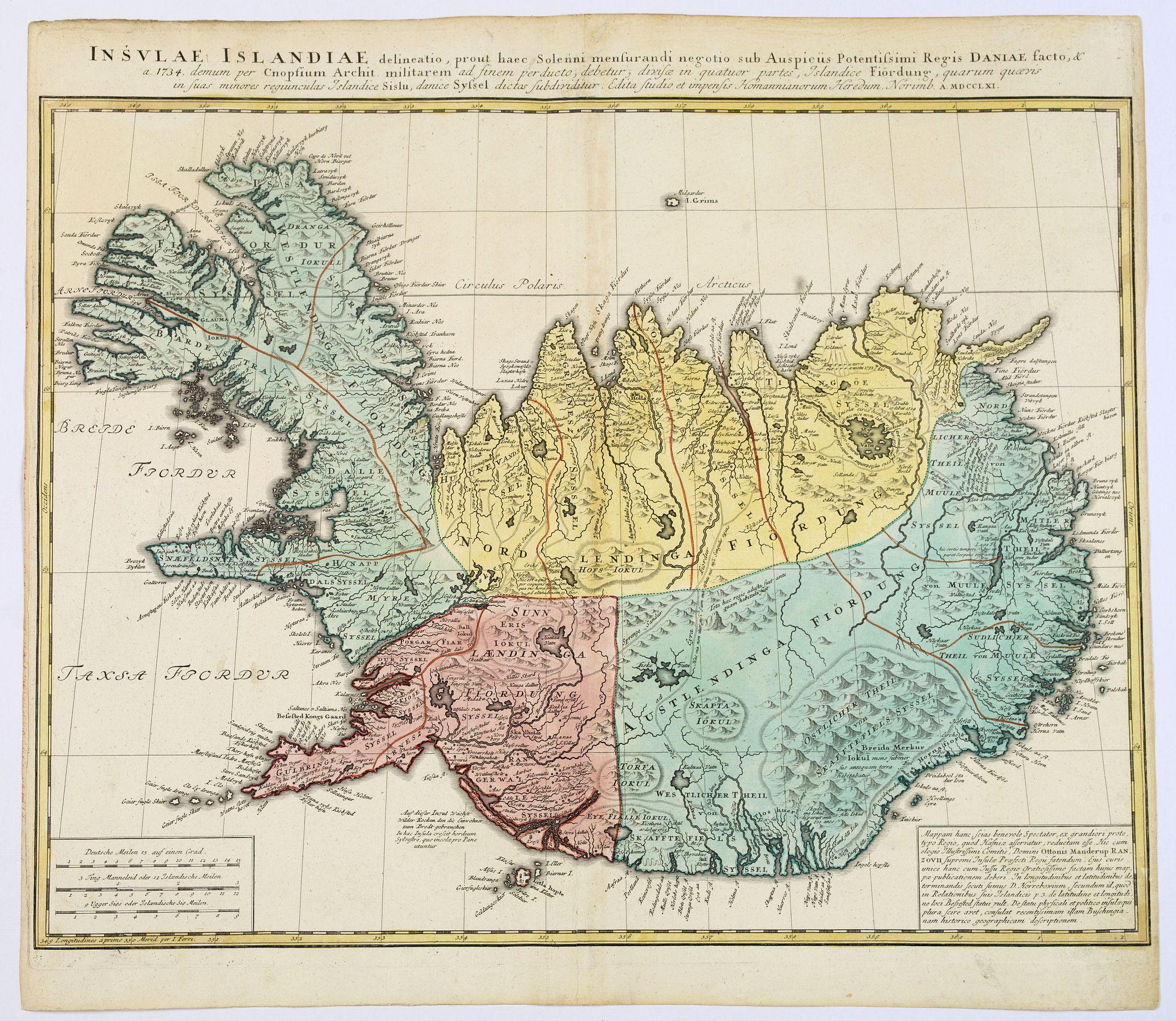 HOMANN HEIRS. -  Insula Islandiae delineatio. . .