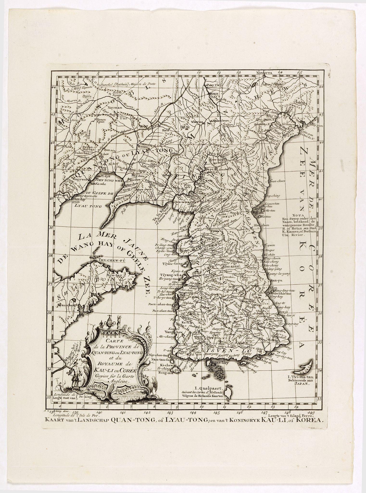 BELLIN, J.N. -  Carte de la province de Quan-tong, ou Lyau-tong et du Royaume de Kau-li ou Corée. . . / Kaart van t' Landschap Quan-Tong . . .