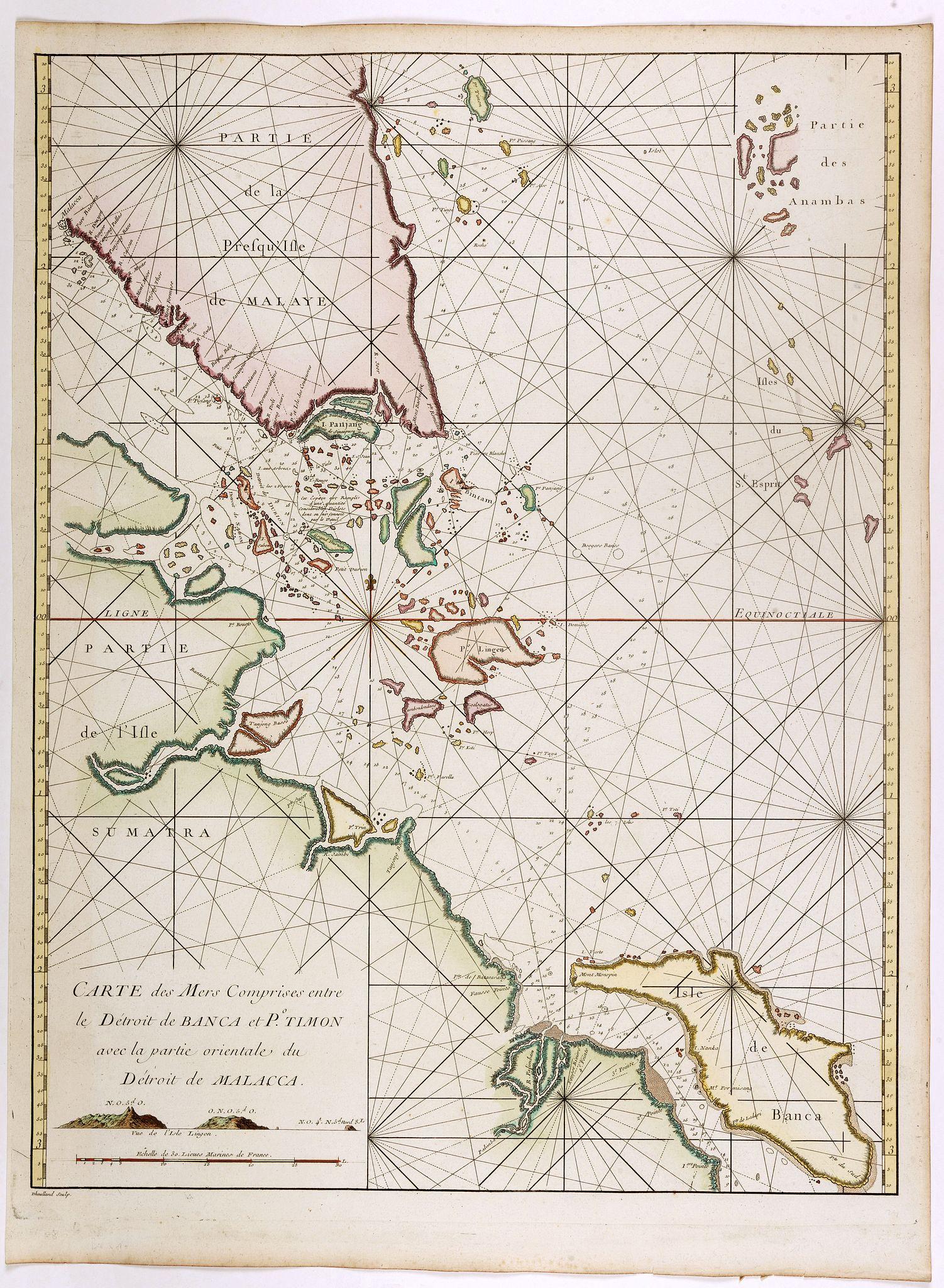 D'APRES DE MANNEVILLETTE. -  Nouvelle carte des mers comprises entre le détroit de Banca et P°. Timon avec la partie orientale du détroit de Malacca.