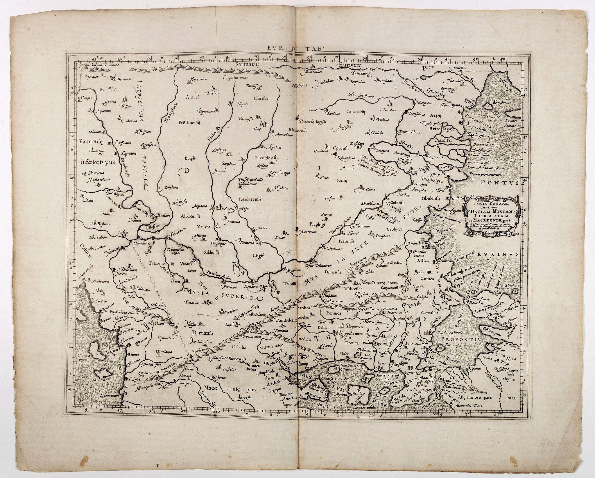 MERCATOR, G. / HONDIUS, J. -  Tab. IX Europae, Continens Daciam, Misiam, Thraciam, ac Macedoniae partem.