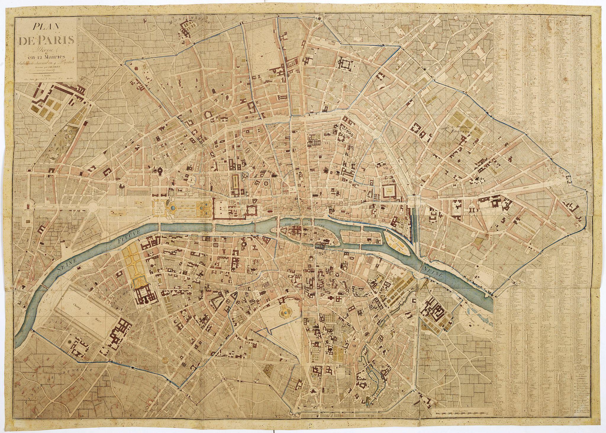 CHAMOT. -  Plan de Paris divisé en 12 mairies subdivisée chacune en 4 parties.