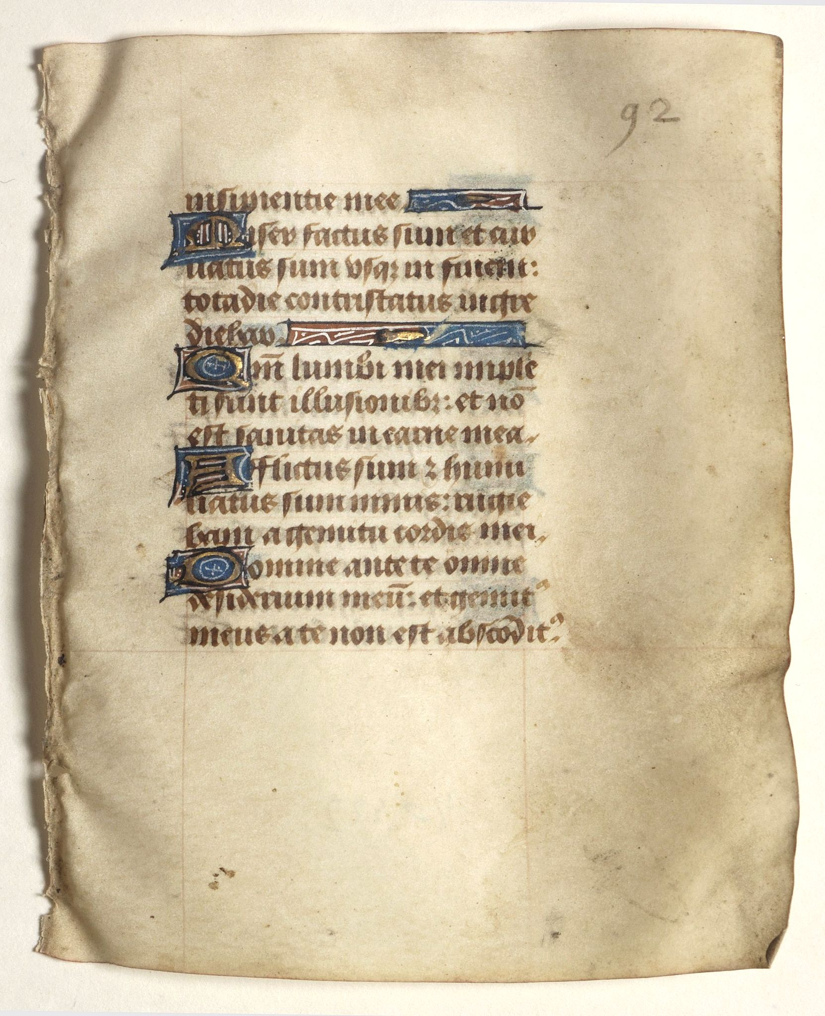 BOOK OF HOURS -  Leaf on vellum from a small manuscript Book of Hours.