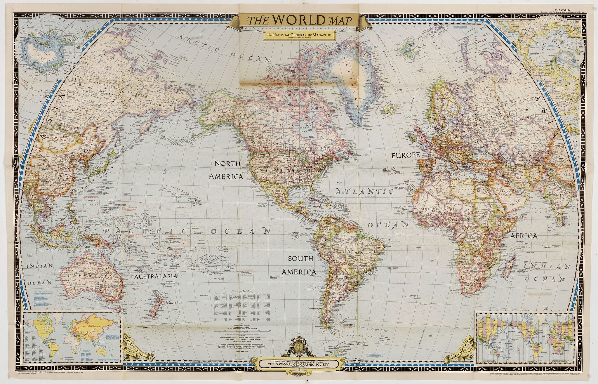 NATIONAL GEOGRAPHIC SOCIETY -  The World Map.