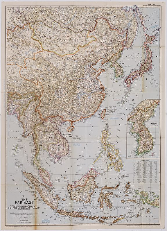 NATIONAL GEOGRAPHIC SOCIETY -  The Far East Compiled and Drawn in the Cartographic Section of the National Geographic Society for the National Geographic Magazine Gilbert Grosvenor. . .