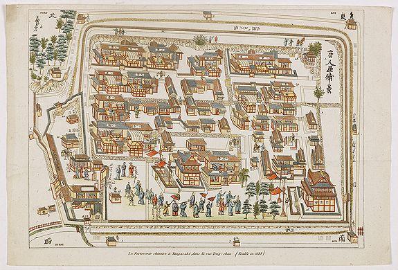 TITSINGH, I. -  La factorerie chinoise a nagasaki, dans la rue Teng-chan (fondée en 1688).