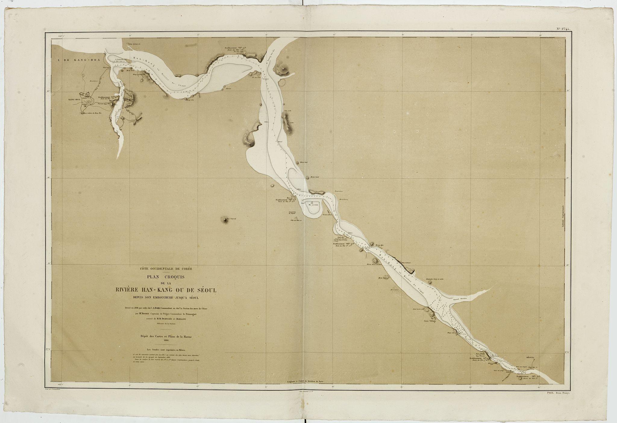 DEPOT DES CARTES ET PLANS DE LA MARINE -  CARTE de la Côte Occidentale de COREE, Plan Croquis de la Rivière HAN-KANG ou de SEOUL, depuis son Embouchure jusqu'à Séoul, dressée en 1866 par ordre du C.A. ROZE. . .