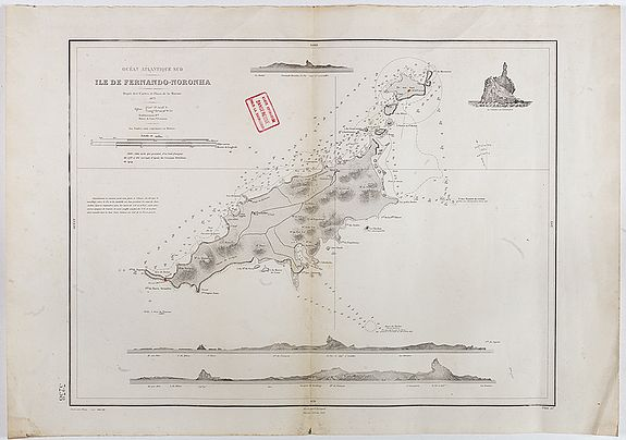 DEPOT DES CARTES ET PLANS DE LA MARINE -  Océan Atlantique Sud, ile de Fernando-Noronha.