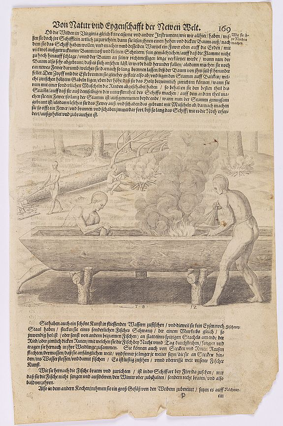 GOTTFRIED, J.L. ,  [The manner of making their boats.], antique map, old maps